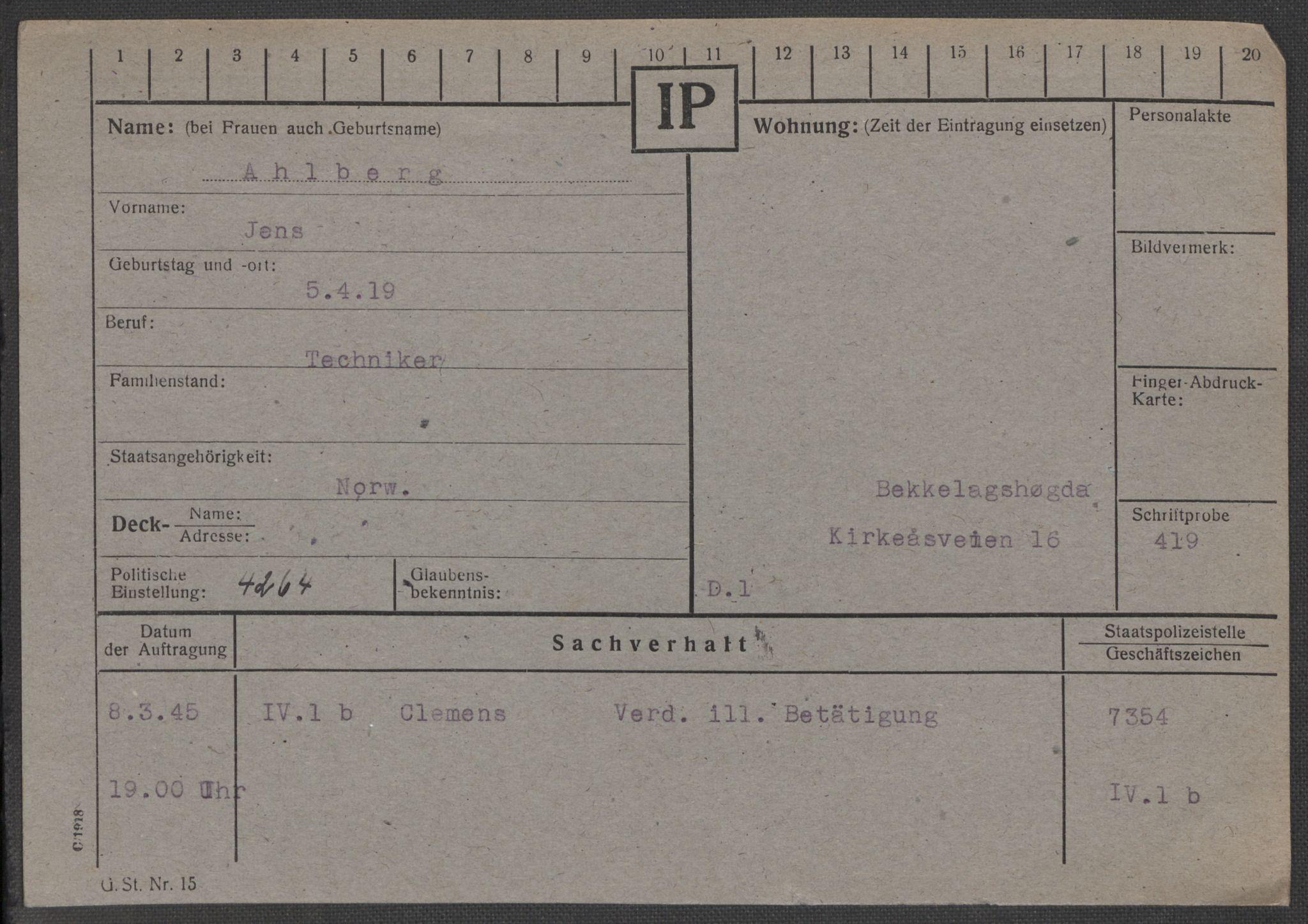 RA, Befehlshaber der Sicherheitspolizei und des SD, E/Ea/Eaa/L0001: Register over norske fanger i Møllergata 19: A-Bj, 1940-1945, s. 40
