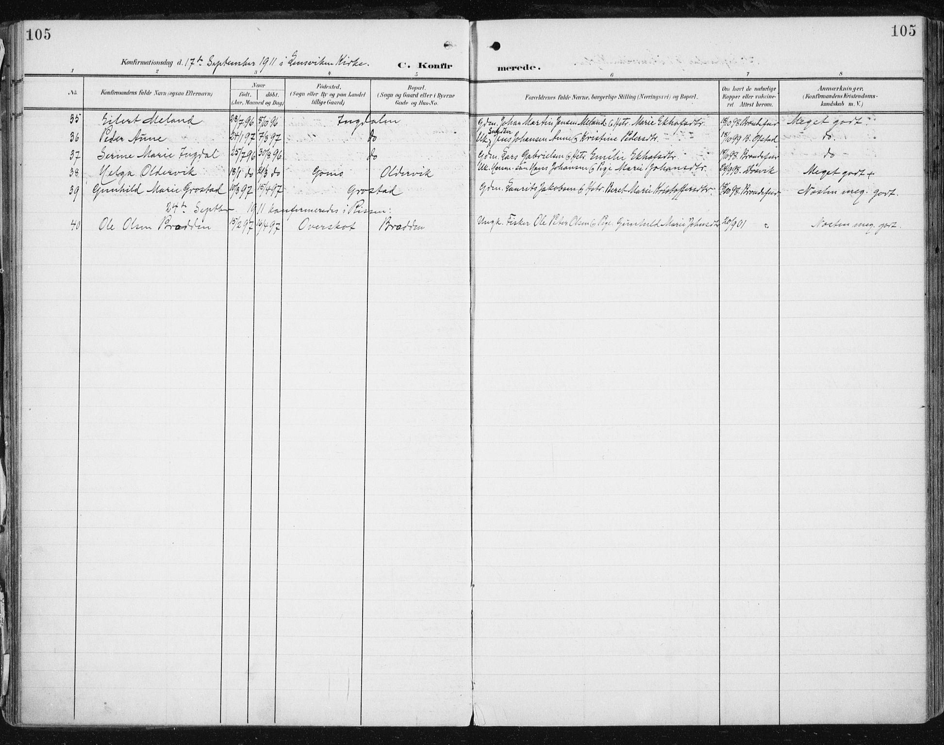 SAT, Ministerialprotokoller, klokkerbøker og fødselsregistre - Sør-Trøndelag, 646/L0616: Ministerialbok nr. 646A14, 1900-1918, s. 105