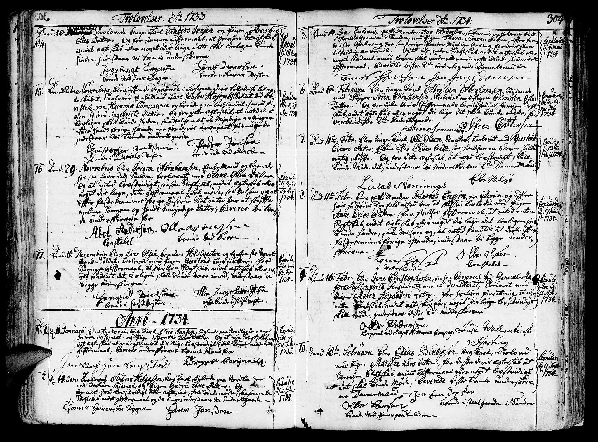SAT, Ministerialprotokoller, klokkerbøker og fødselsregistre - Sør-Trøndelag, 602/L0103: Ministerialbok nr. 602A01, 1732-1774, s. 304