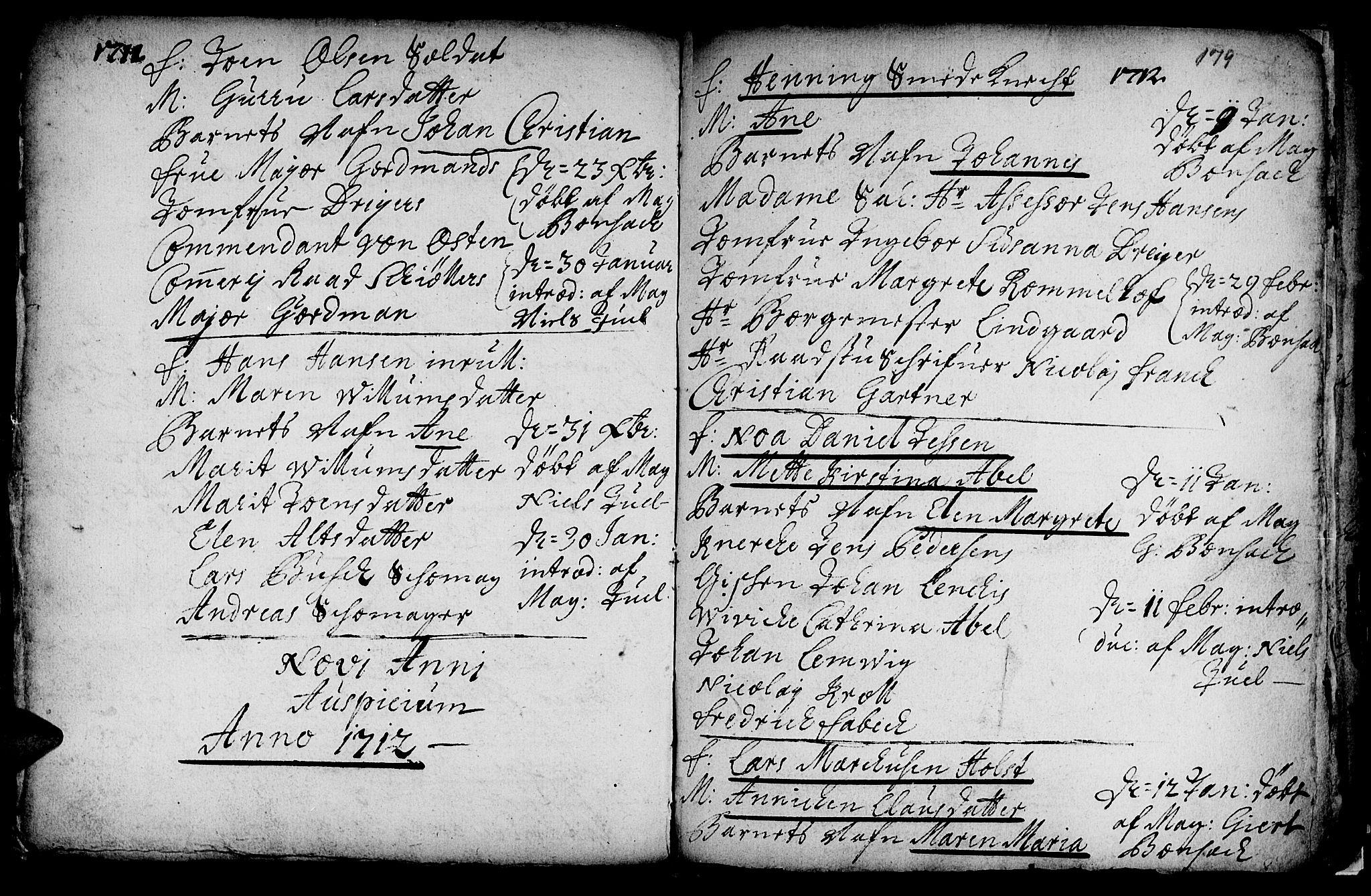SAT, Ministerialprotokoller, klokkerbøker og fødselsregistre - Sør-Trøndelag, 601/L0034: Ministerialbok nr. 601A02, 1702-1714, s. 179