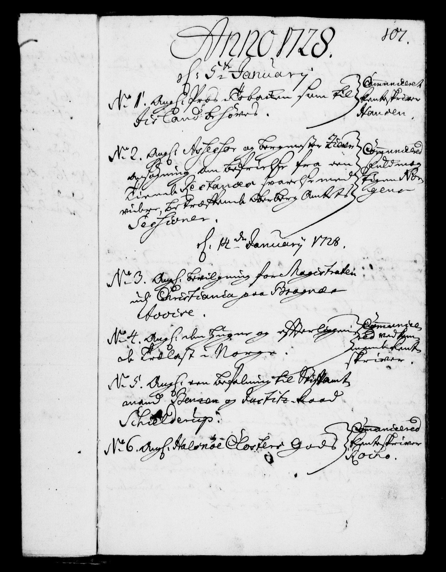 RA, Rentekammeret, Kammerkanselliet, G/Gf/Gfb/L0002: Register til norske relasjons- og resolusjonsprotokoller (merket RK 52.97), 1724-1728, s. 107