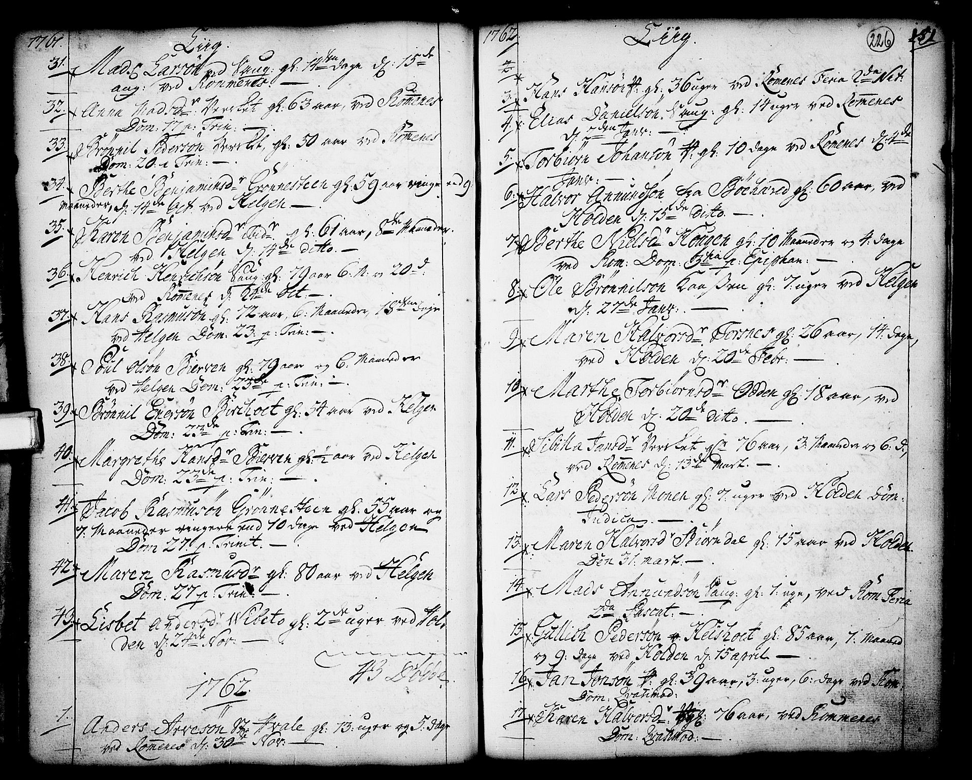 SAKO, Holla kirkebøker, F/Fa/L0001: Ministerialbok nr. 1, 1717-1779, s. 226