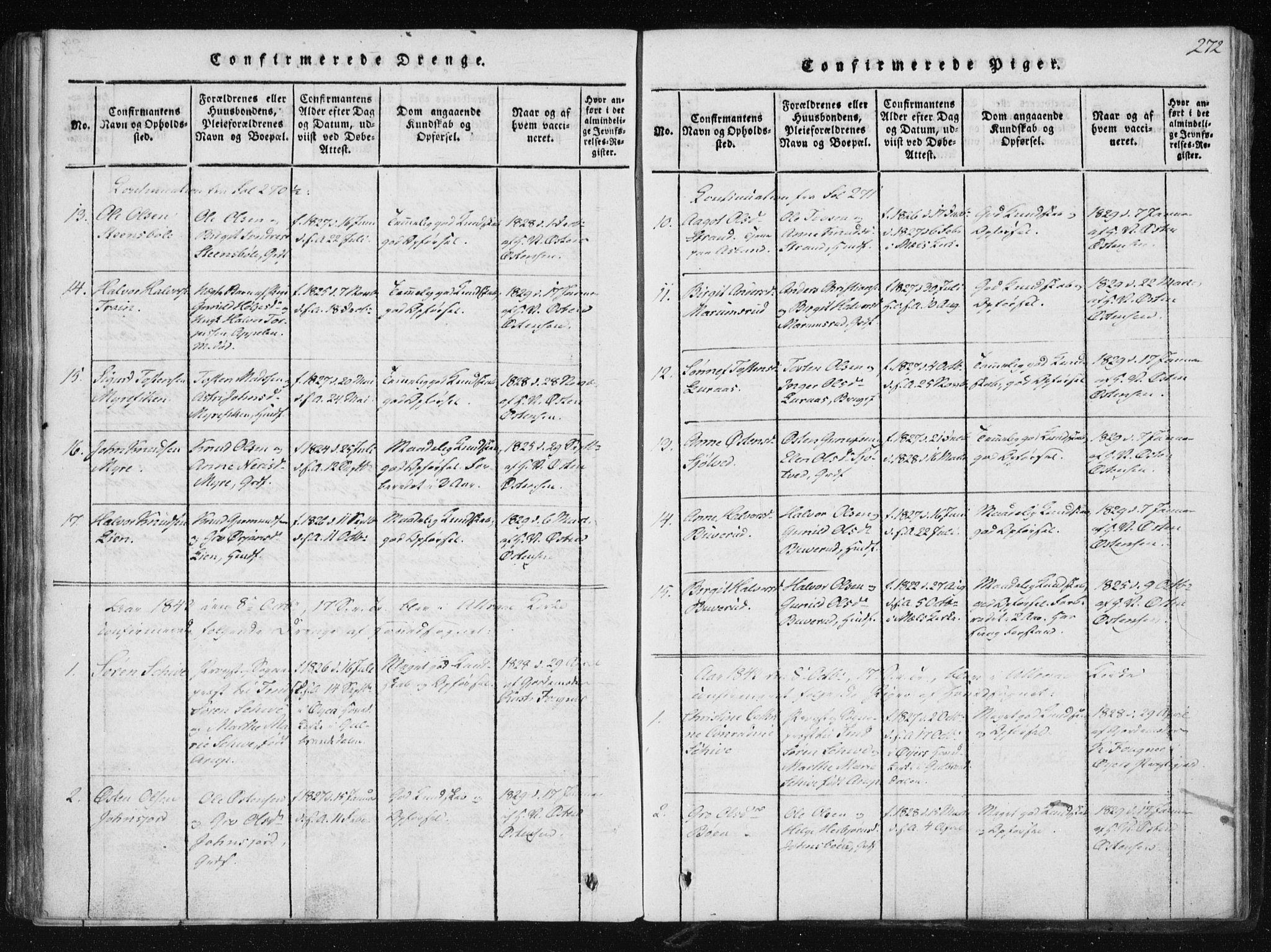 SAKO, Tinn kirkebøker, F/Fb/L0001: Ministerialbok nr. II 1, 1815-1843, s. 272