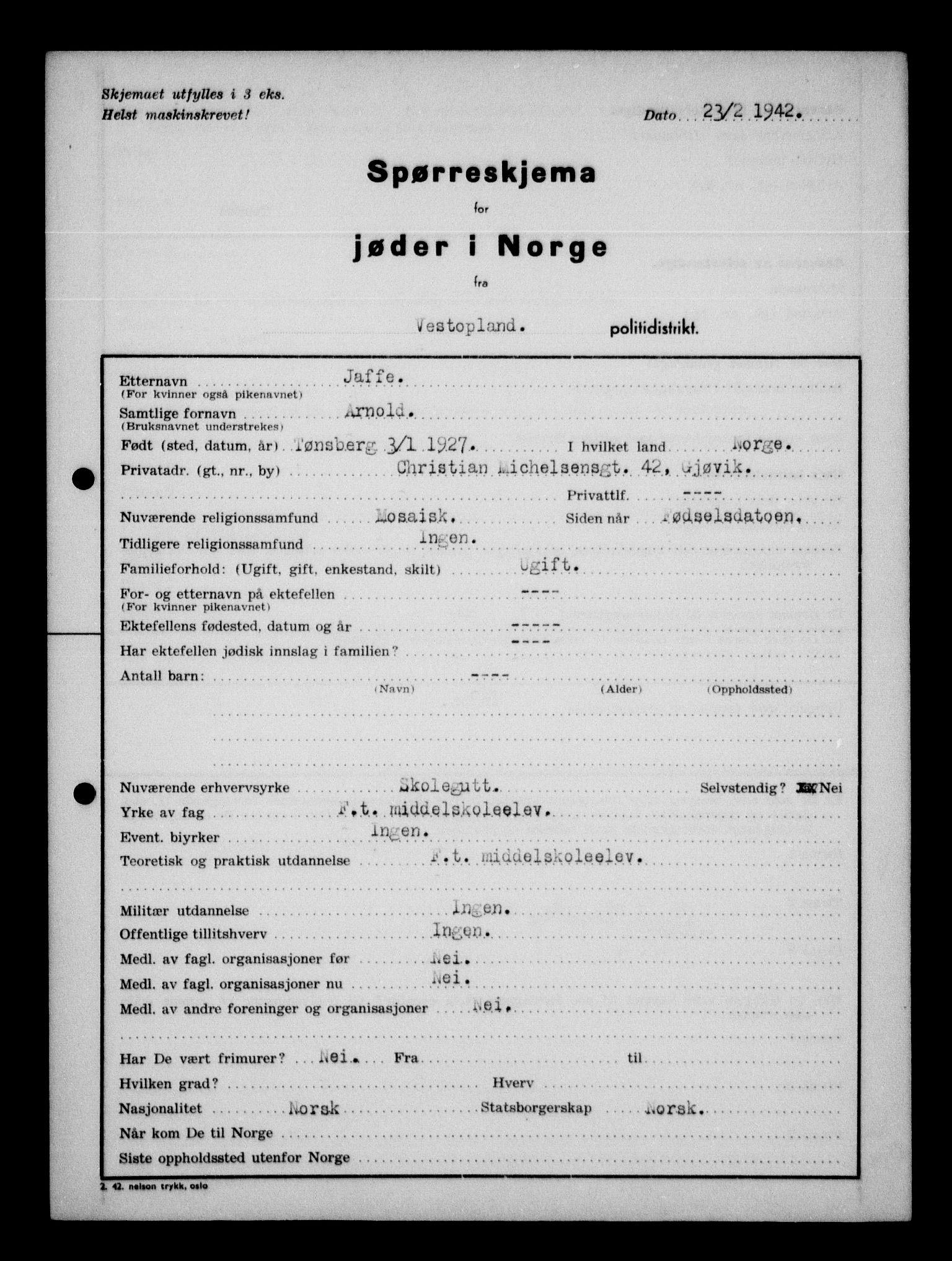 RA, Statspolitiet - Hovedkontoret / Osloavdelingen, G/Ga/L0013: Spørreskjema for jøder i Norge. 1: Sandefjord-Trondheim. 2: Tønsberg- Ålesund.  3: Skriv vedr. jøder A-H.  , 1942-1943, s. 213