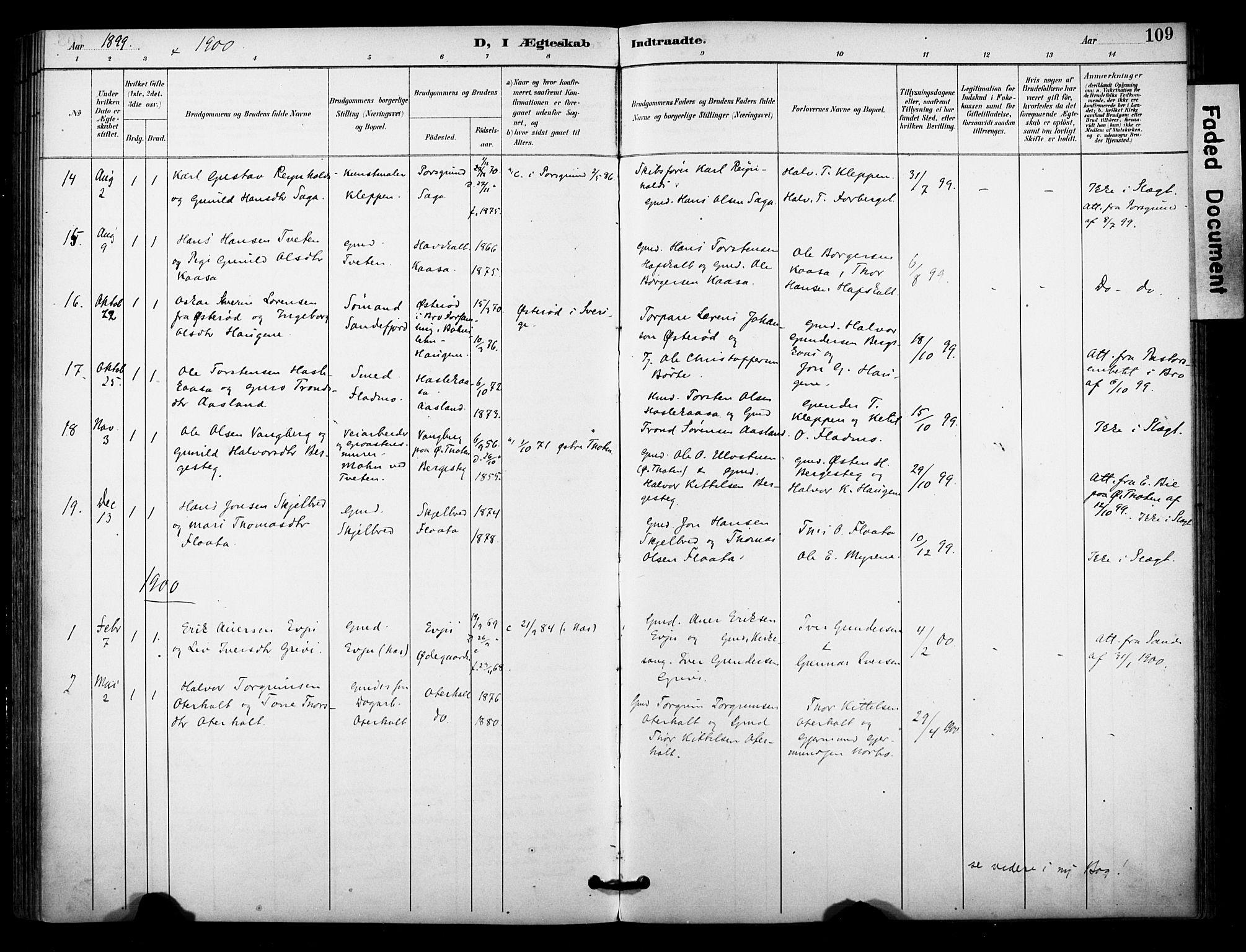 SAKO, Bø kirkebøker, F/Fa/L0011: Ministerialbok nr. 11, 1892-1900, s. 109