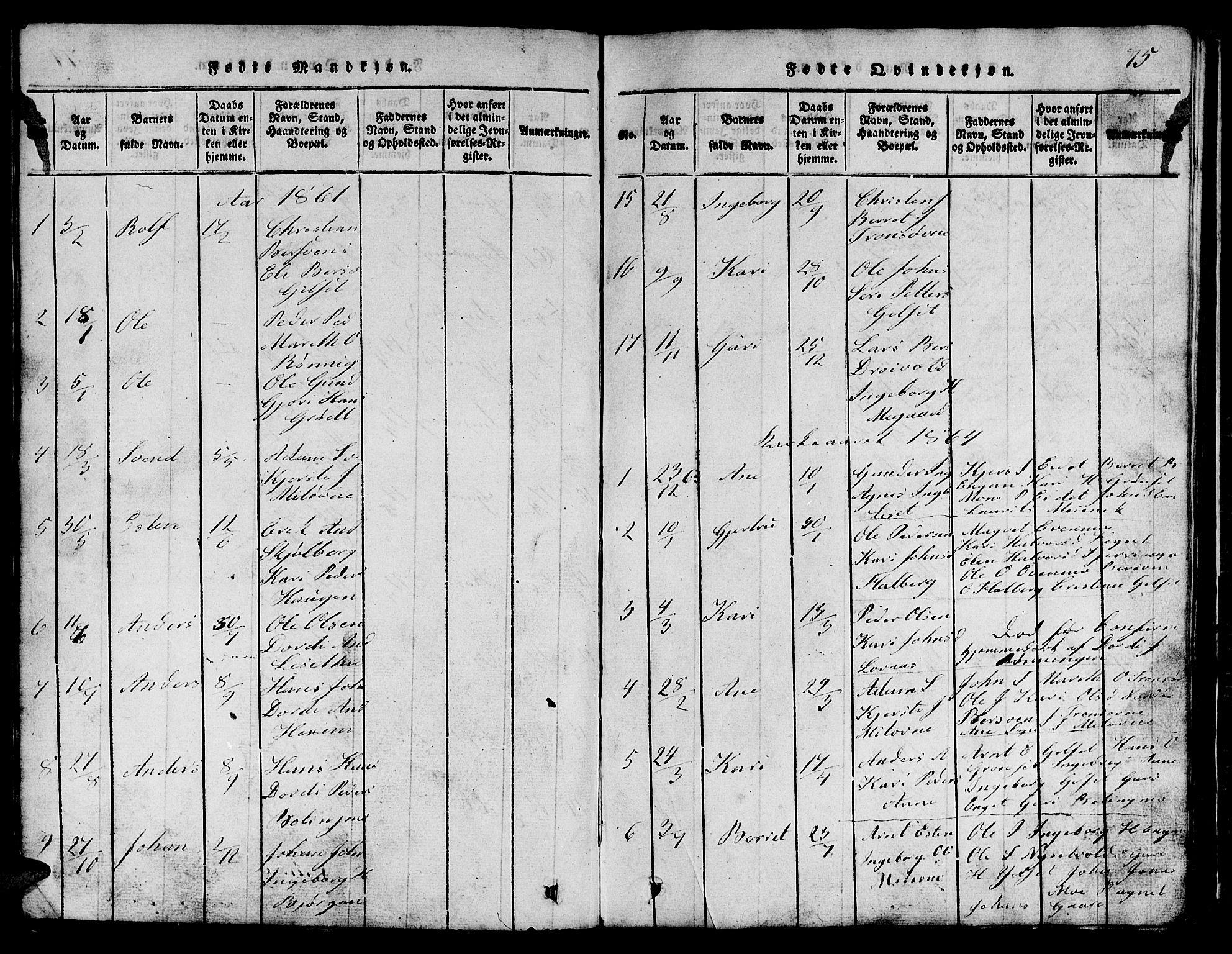 SAT, Ministerialprotokoller, klokkerbøker og fødselsregistre - Sør-Trøndelag, 685/L0976: Klokkerbok nr. 685C01, 1817-1878, s. 75