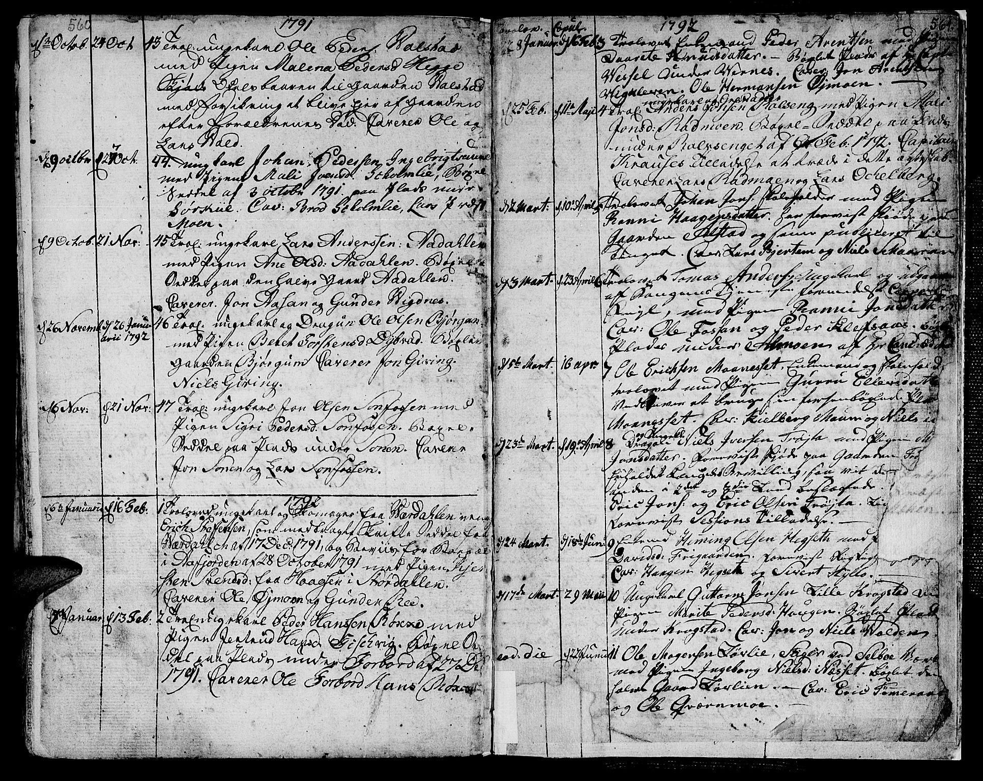 SAT, Ministerialprotokoller, klokkerbøker og fødselsregistre - Nord-Trøndelag, 709/L0059: Ministerialbok nr. 709A06, 1781-1797, s. 560-561