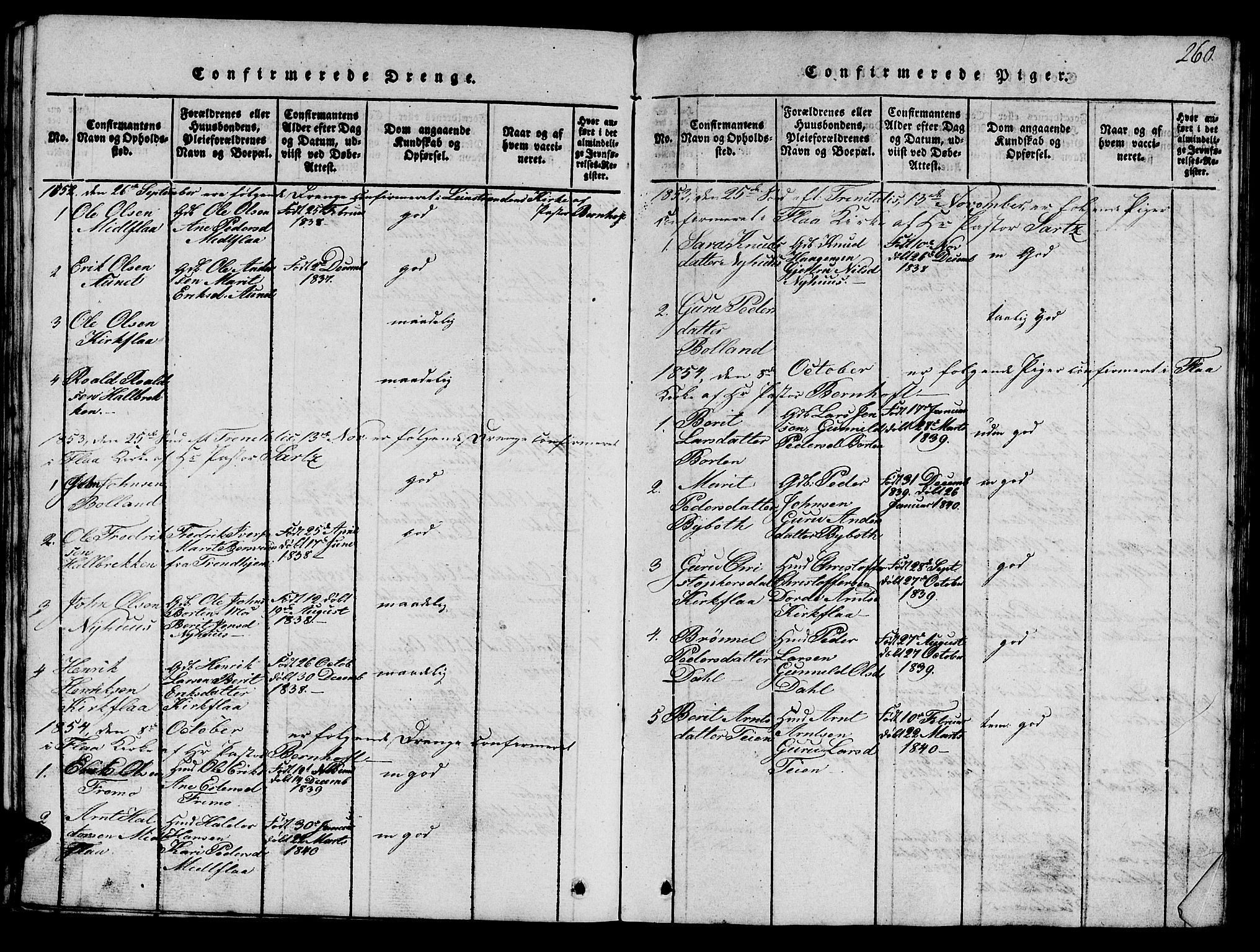 SAT, Ministerialprotokoller, klokkerbøker og fødselsregistre - Sør-Trøndelag, 693/L1121: Klokkerbok nr. 693C02, 1816-1869, s. 260