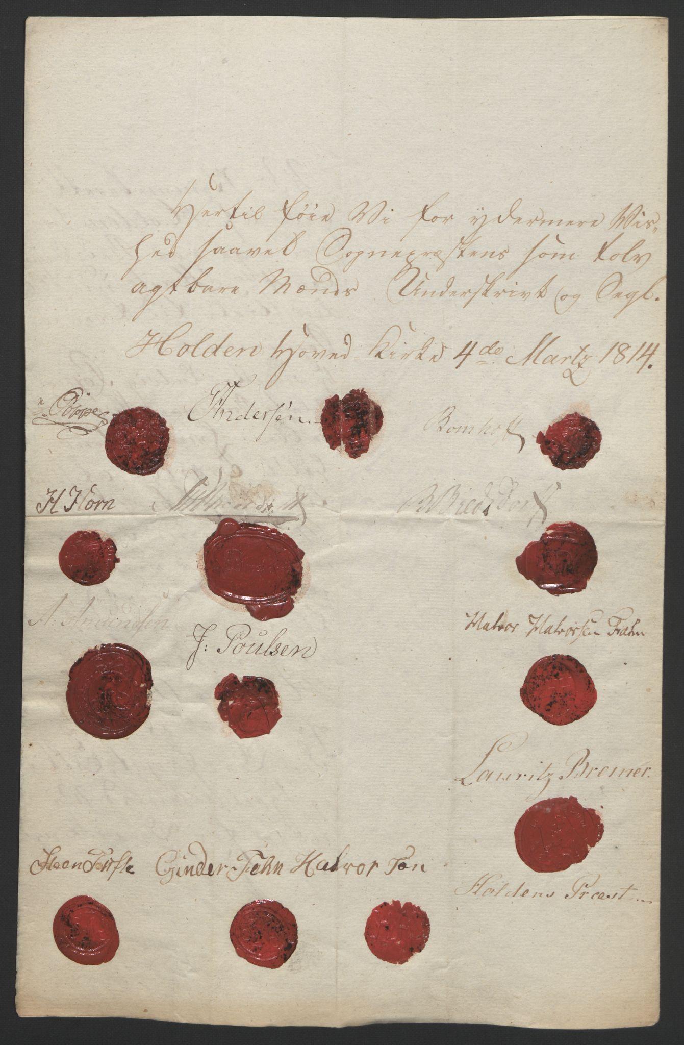 RA, Statsrådssekretariatet, D/Db/L0008: Fullmakter for Eidsvollsrepresentantene i 1814. , 1814, s. 54