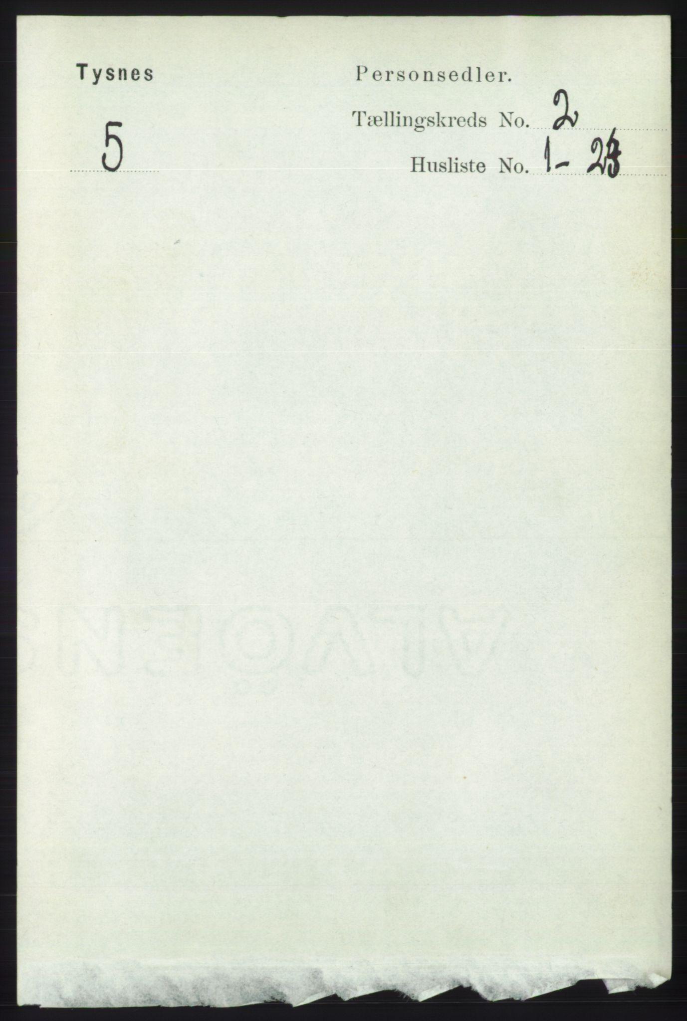 RA, Folketelling 1891 for 1223 Tysnes herred, 1891, s. 445