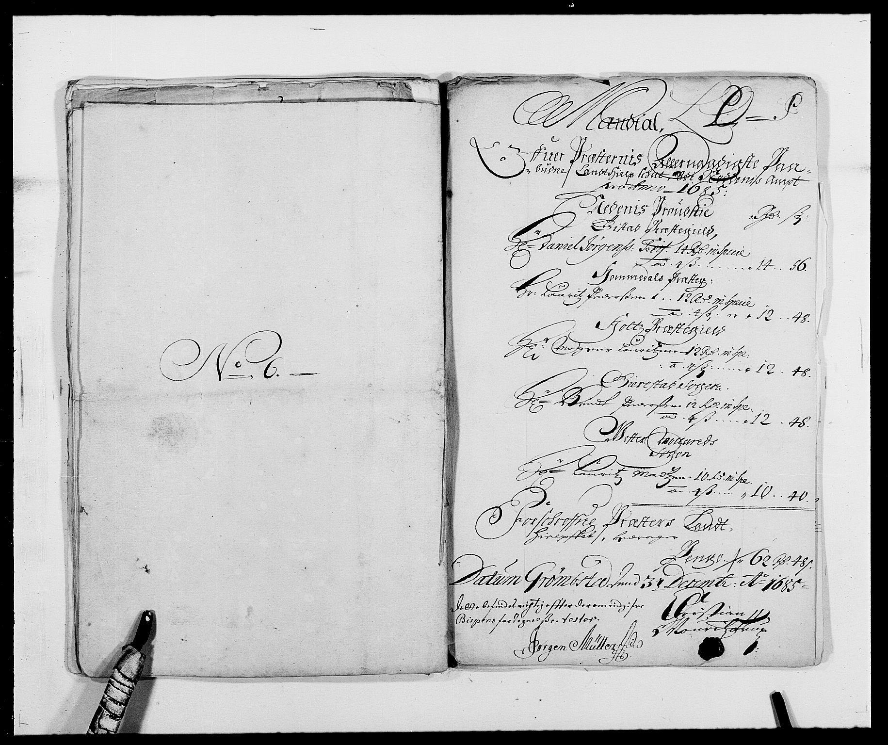 RA, Rentekammeret inntil 1814, Reviderte regnskaper, Fogderegnskap, R39/L2308: Fogderegnskap Nedenes, 1684-1689, s. 327
