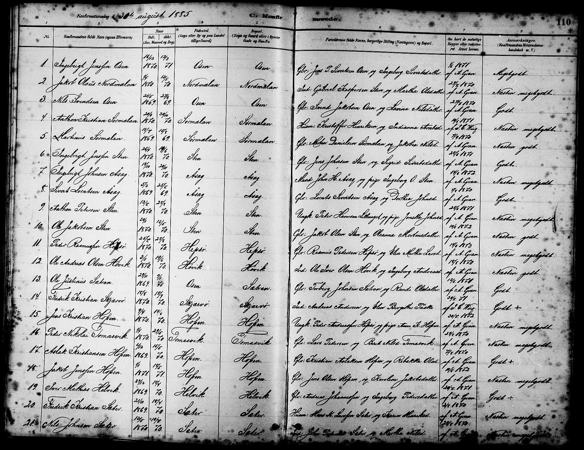 SAT, Ministerialprotokoller, klokkerbøker og fødselsregistre - Sør-Trøndelag, 658/L0726: Klokkerbok nr. 658C02, 1883-1908, s. 110