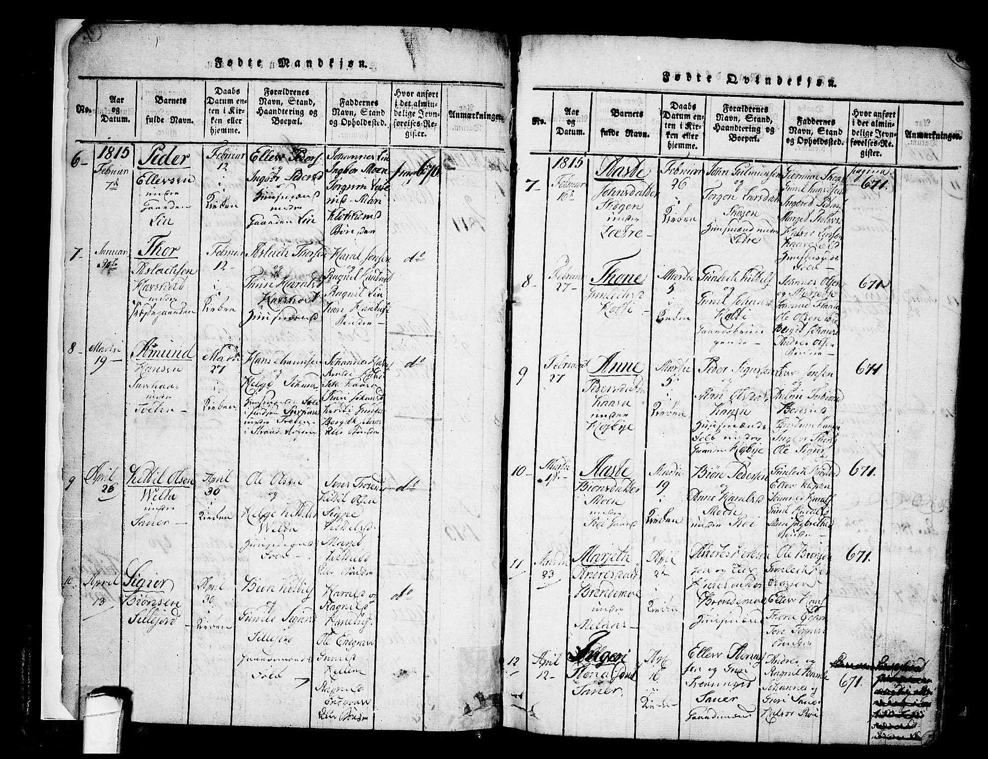 SAKO, Heddal kirkebøker, F/Fa/L0005: Ministerialbok nr. I 5, 1814-1837, s. 5-6