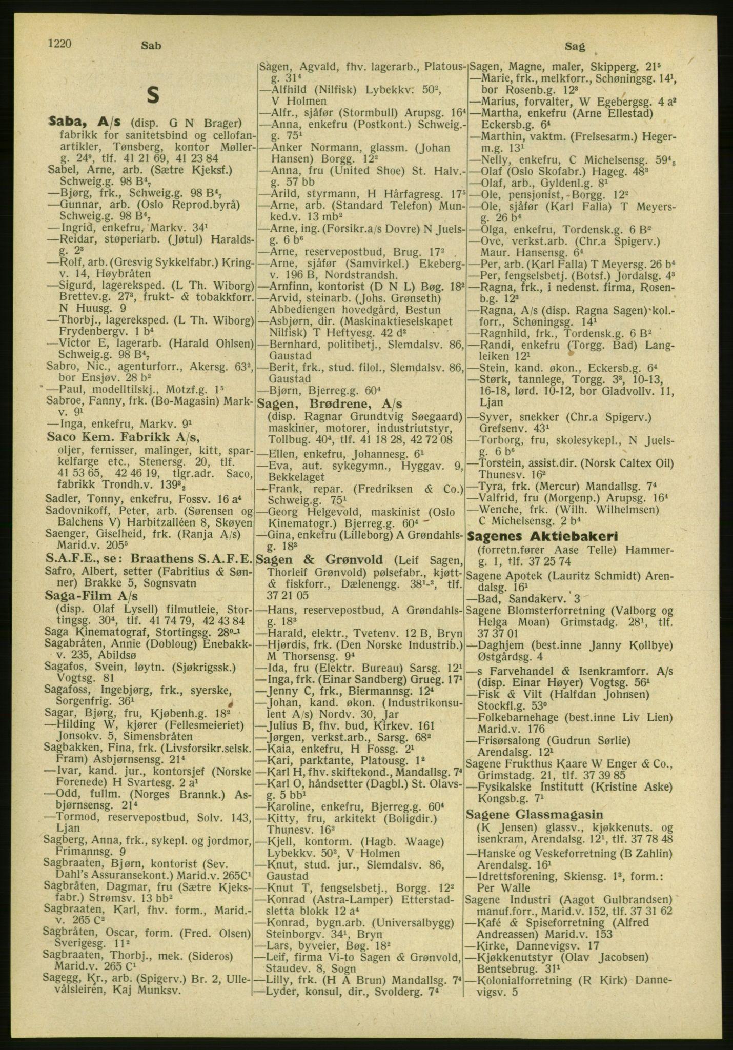 PUBL, Kristiania/Oslo adressebok, 1951, s. 1220