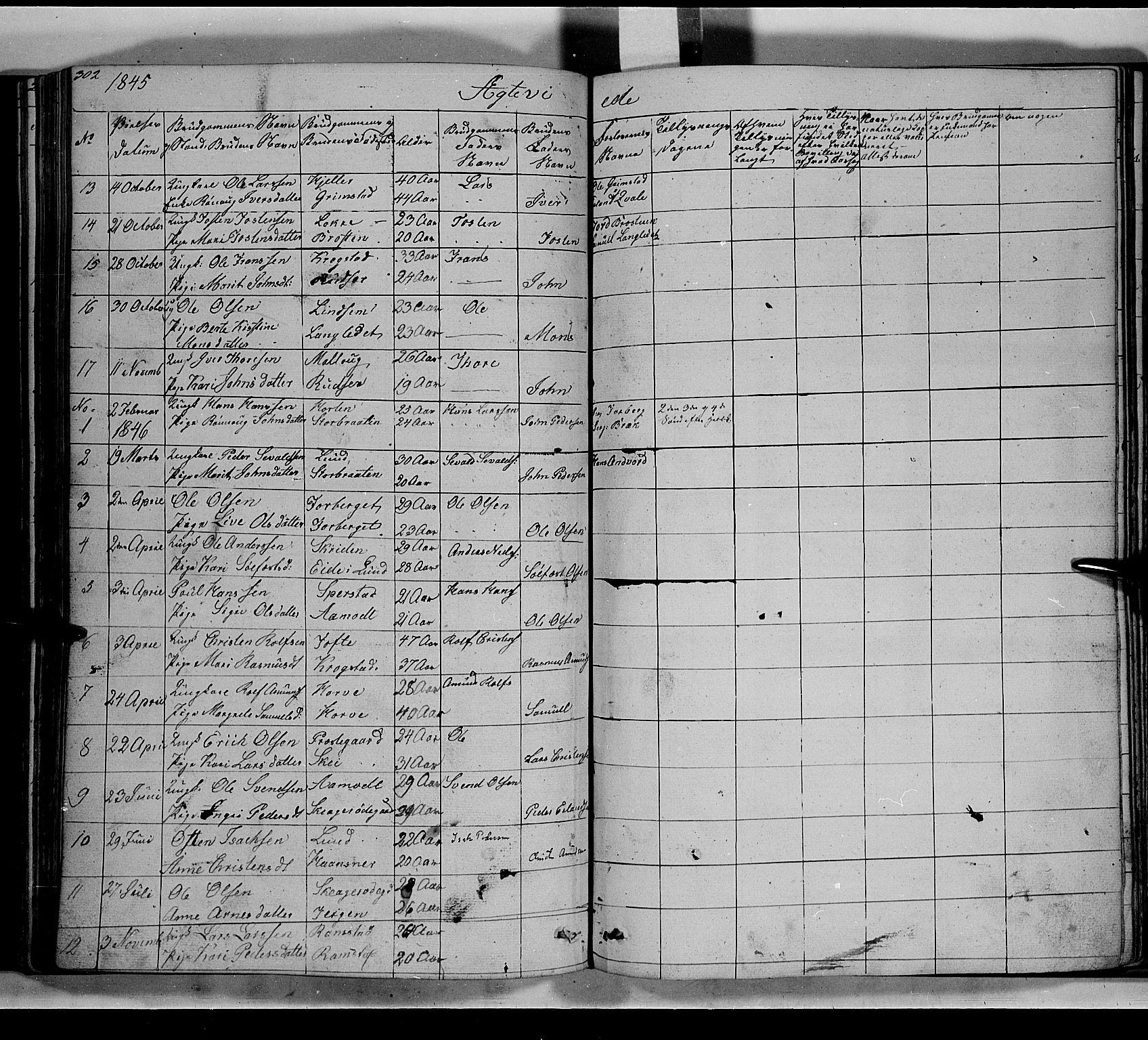 SAH, Lom prestekontor, L/L0004: Klokkerbok nr. 4, 1845-1864, s. 302-303