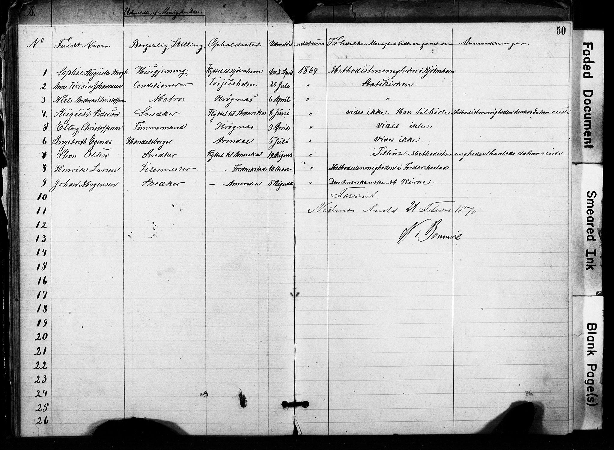 SAK, Metodistmenigheten, Arendal, F/Fa/L0001: Dissenterprotokoll nr. F-2, 1867-1879, s. 50