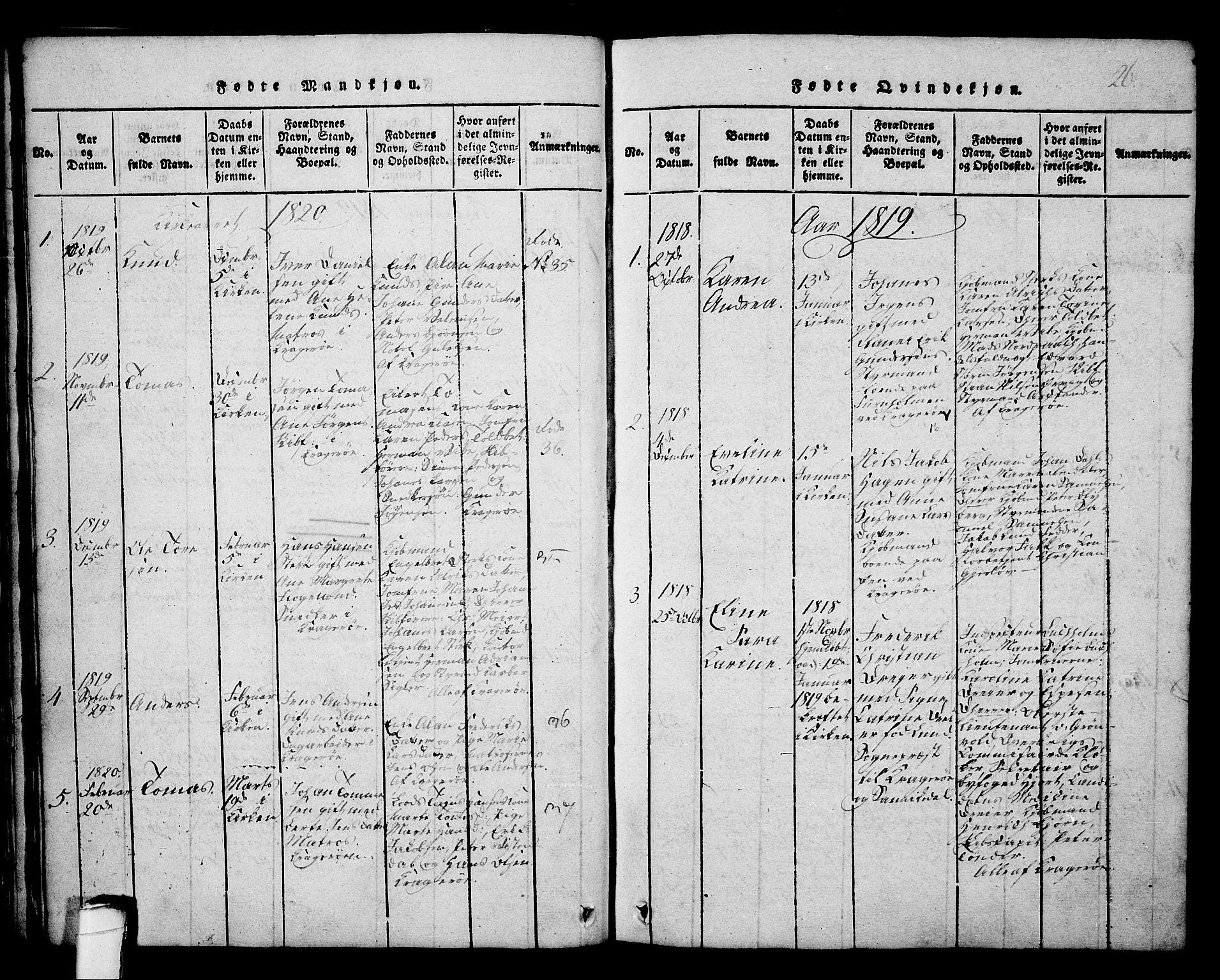 SAKO, Kragerø kirkebøker, G/Ga/L0002: Klokkerbok nr. 2, 1814-1831, s. 26