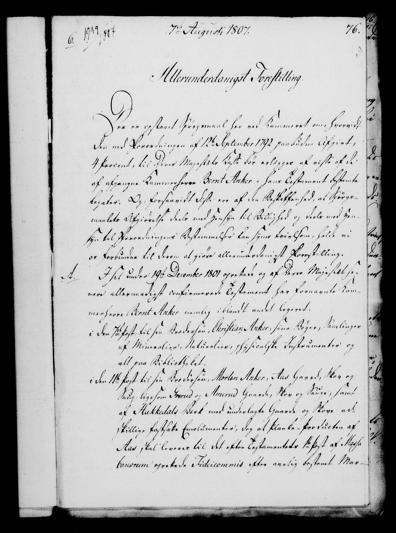 RA, Rentekammeret, Kammerkanselliet, G/Gf/Gfa/L0089: Norsk relasjons- og resolusjonsprotokoll (merket RK 52.89), 1807, s. 460