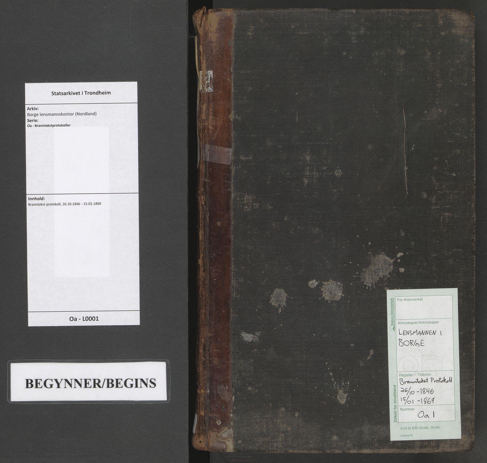 SAT, Borge lensmannskontor (Nordland), Oa/L0001: Branntakst protokoll, 1846-1869