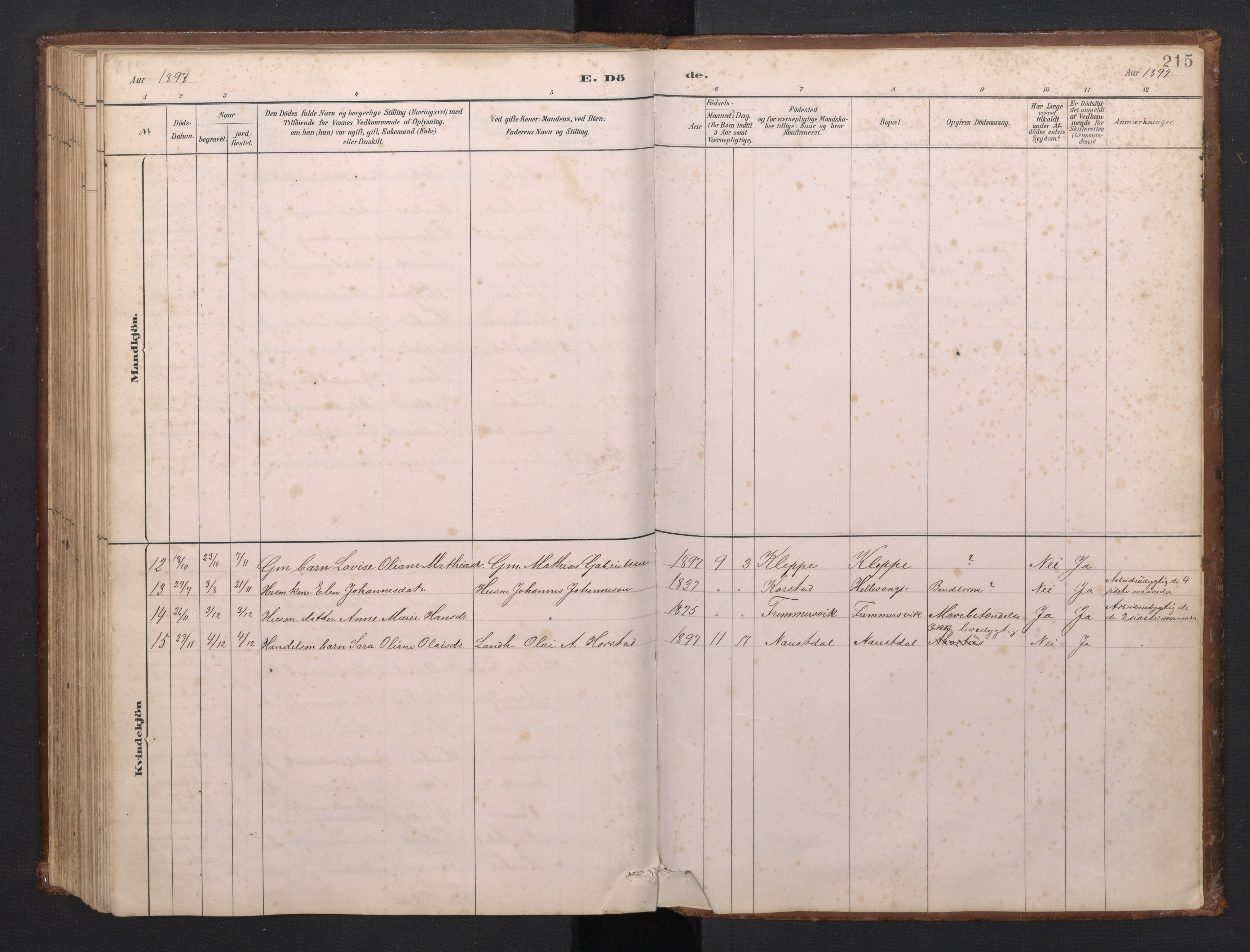 SAB, Førde Sokneprestembete, H/Hab: Klokkerbok nr. D 3, 1881-1897, s. 214b-215a