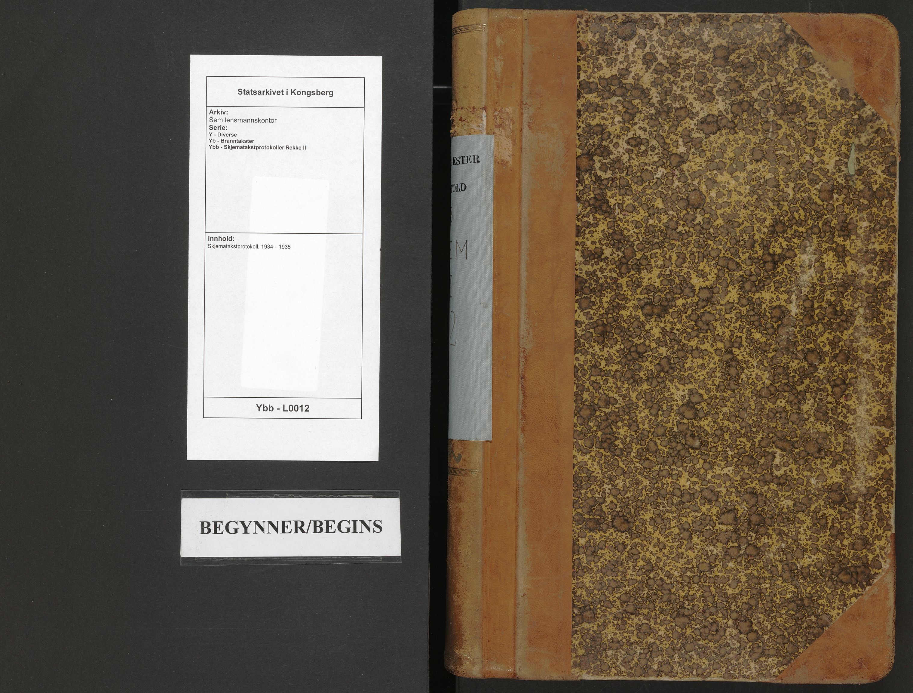 SAKO, Sem lensmannskontor, Y/Yb/Ybb/L0012: Skjematakstprotokoll, 1934-1935