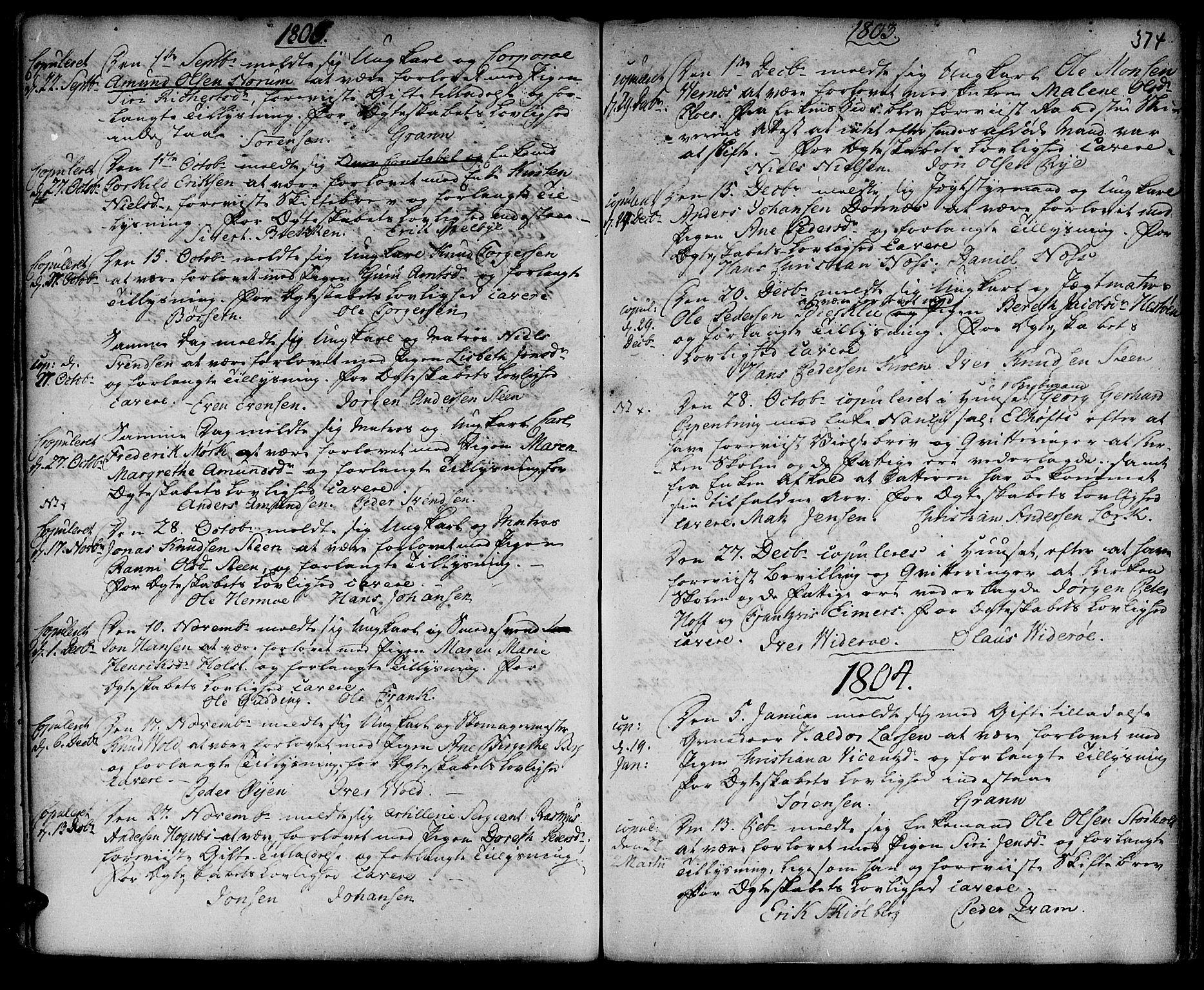 SAT, Ministerialprotokoller, klokkerbøker og fødselsregistre - Sør-Trøndelag, 601/L0038: Ministerialbok nr. 601A06, 1766-1877, s. 374