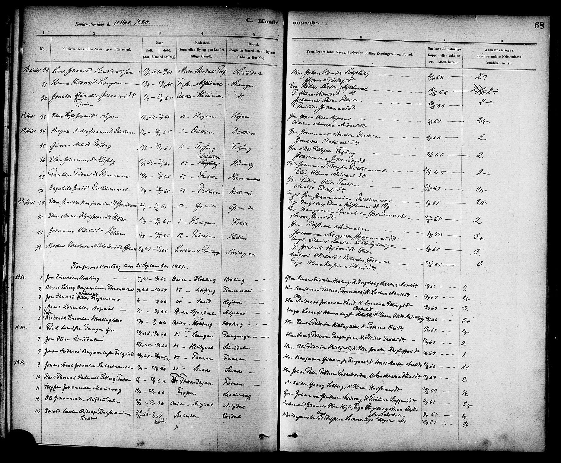 SAT, Ministerialprotokoller, klokkerbøker og fødselsregistre - Nord-Trøndelag, 714/L0130: Ministerialbok nr. 714A01, 1878-1895, s. 68