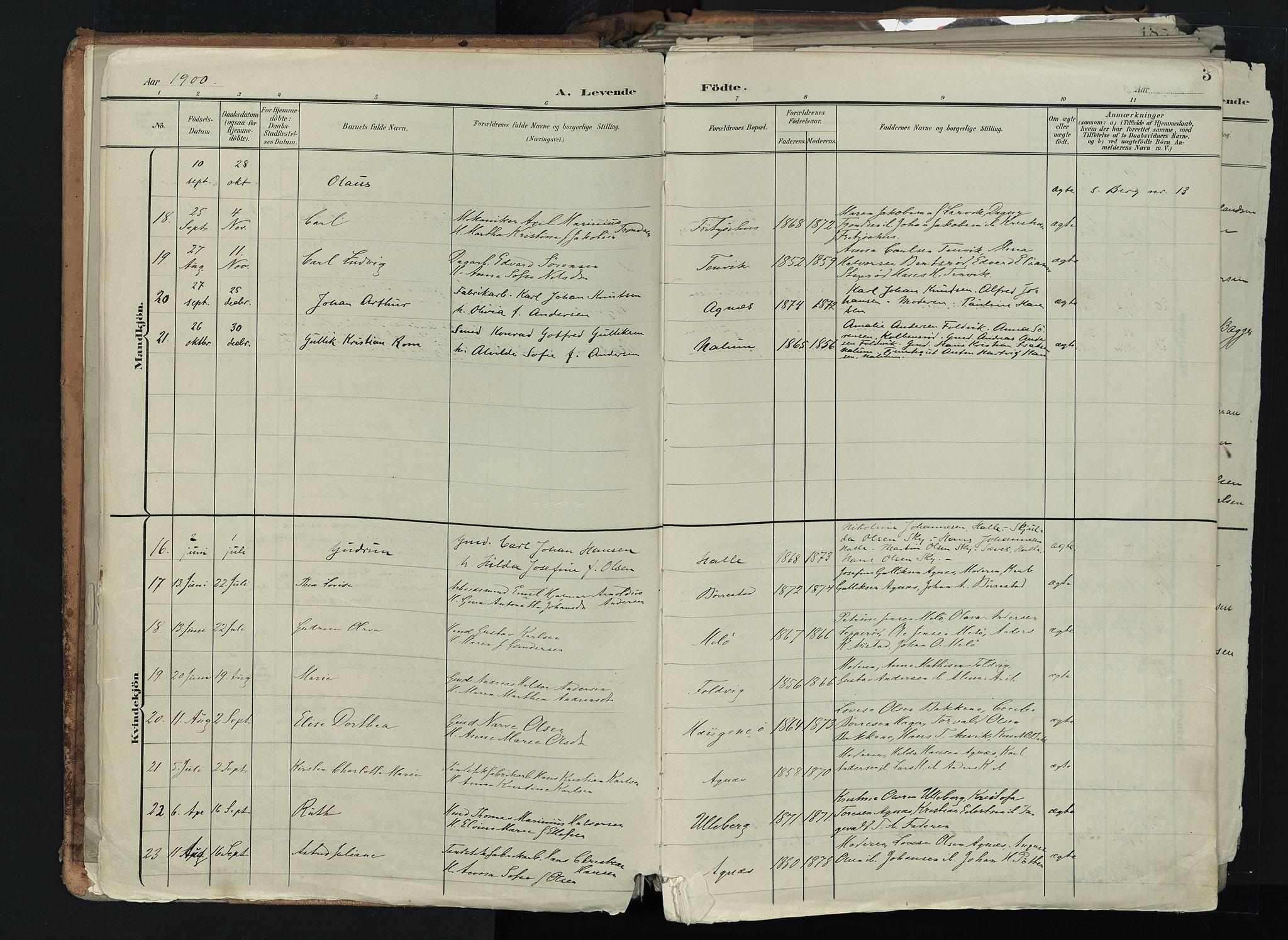 SAKO, Brunlanes kirkebøker, F/Fc/L0003: Ministerialbok nr. III 3, 1900-1922, s. 3