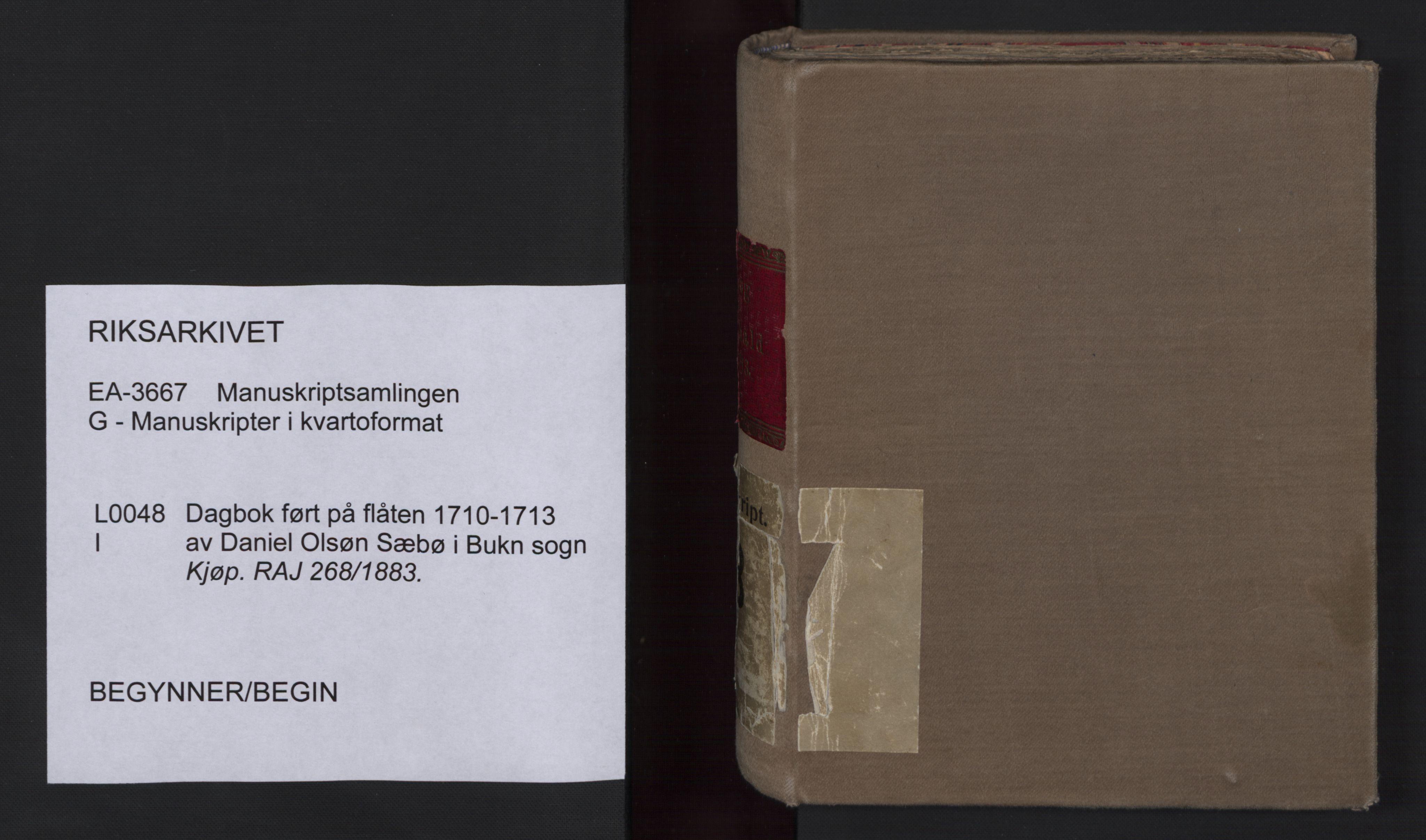RA, Manuskriptsamlingen, G/L0048a: Nils Trosners dagbok ført på flåten 1710-1713 bd. I, 1710-1713, s. upaginert
