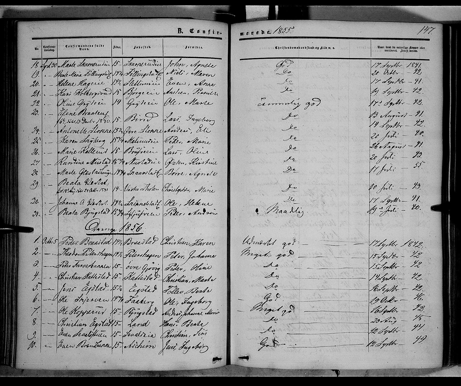 SAH, Vardal prestekontor, H/Ha/Haa/L0006: Ministerialbok nr. 6, 1854-1866, s. 147