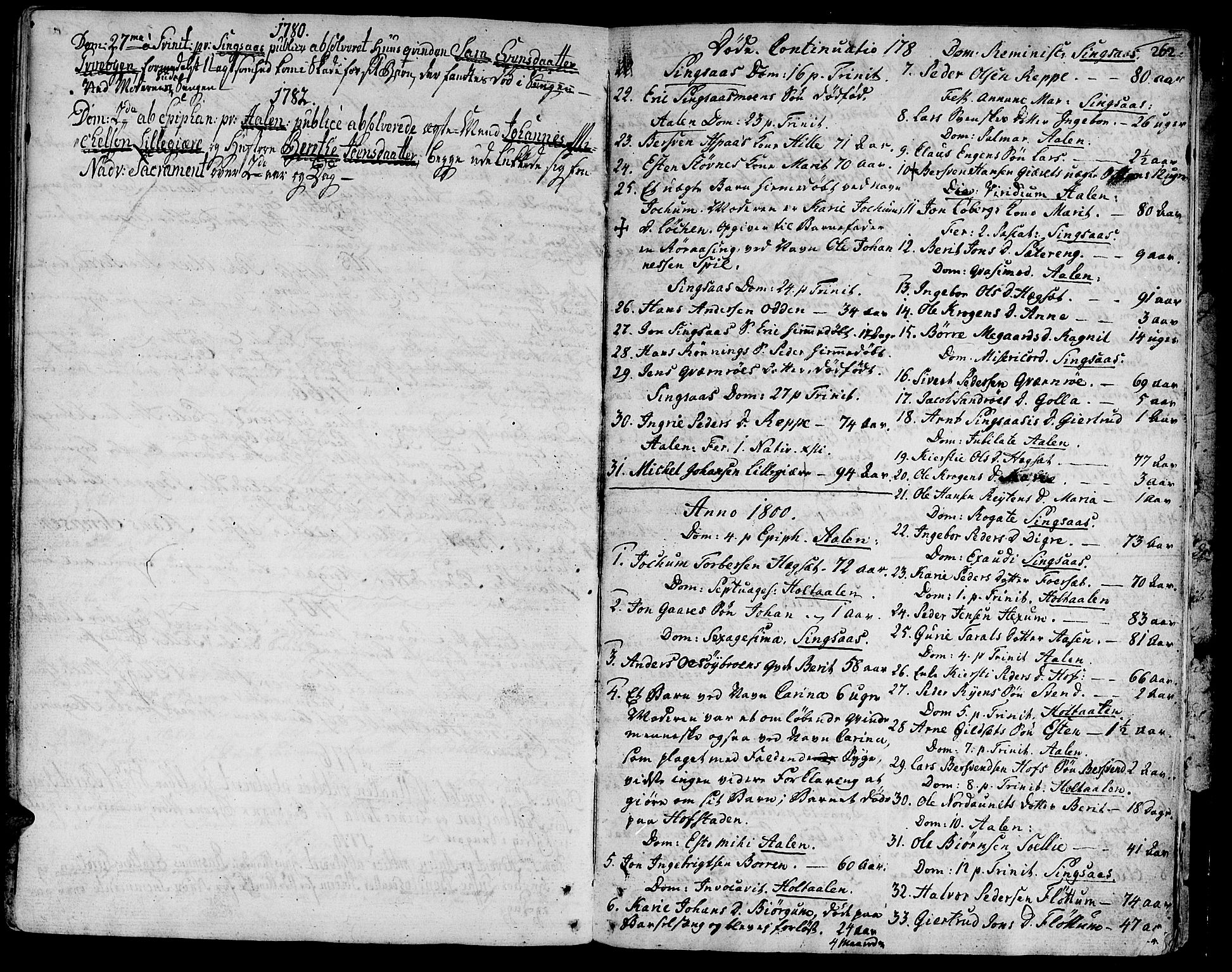 SAT, Ministerialprotokoller, klokkerbøker og fødselsregistre - Sør-Trøndelag, 685/L0952: Ministerialbok nr. 685A01, 1745-1804, s. 262