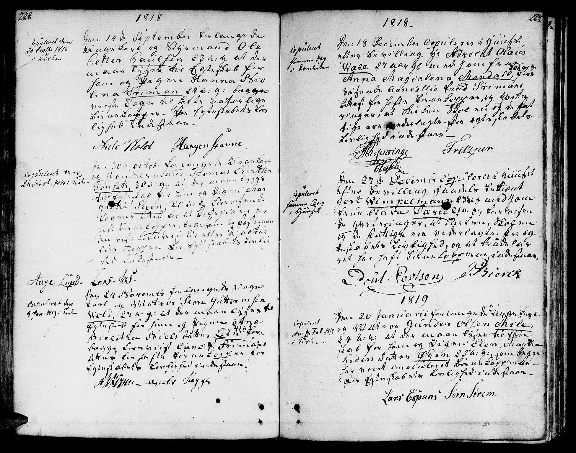 SAT, Ministerialprotokoller, klokkerbøker og fødselsregistre - Sør-Trøndelag, 601/L0042: Ministerialbok nr. 601A10, 1802-1830, s. 224-225