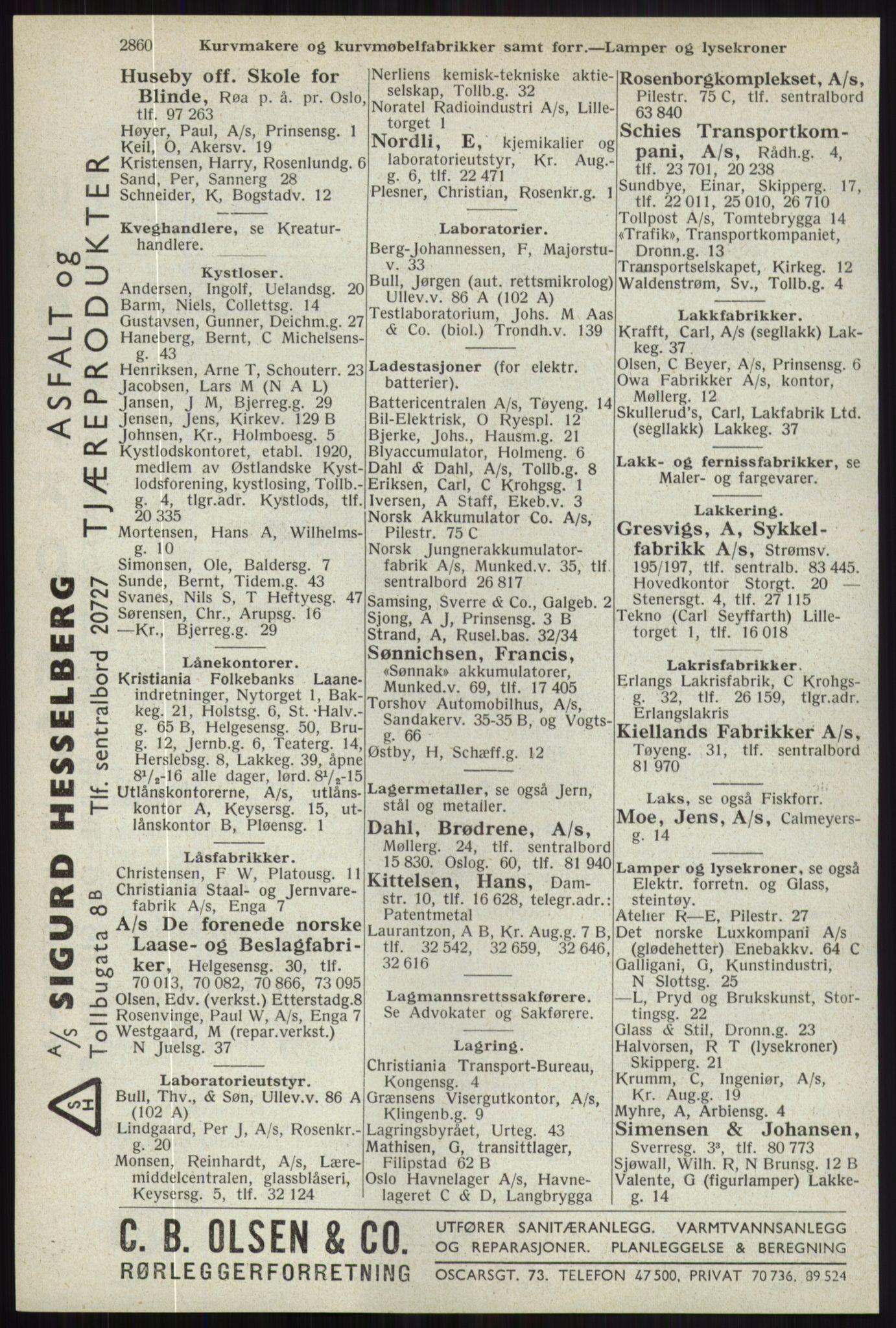 RA, Oslo adressebok (publikasjon)*, 1941, s. 2860