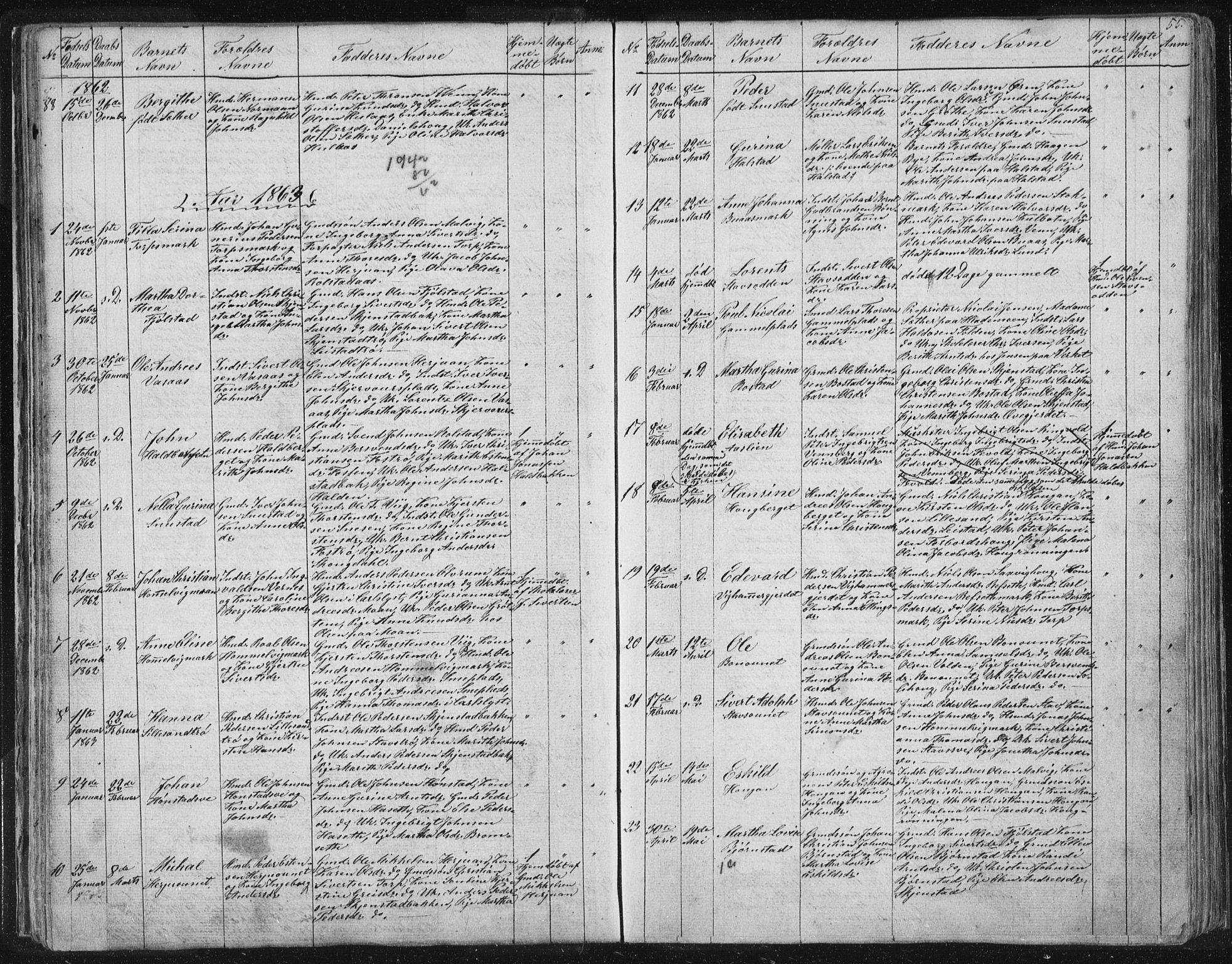 SAT, Ministerialprotokoller, klokkerbøker og fødselsregistre - Sør-Trøndelag, 616/L0406: Ministerialbok nr. 616A03, 1843-1879, s. 55