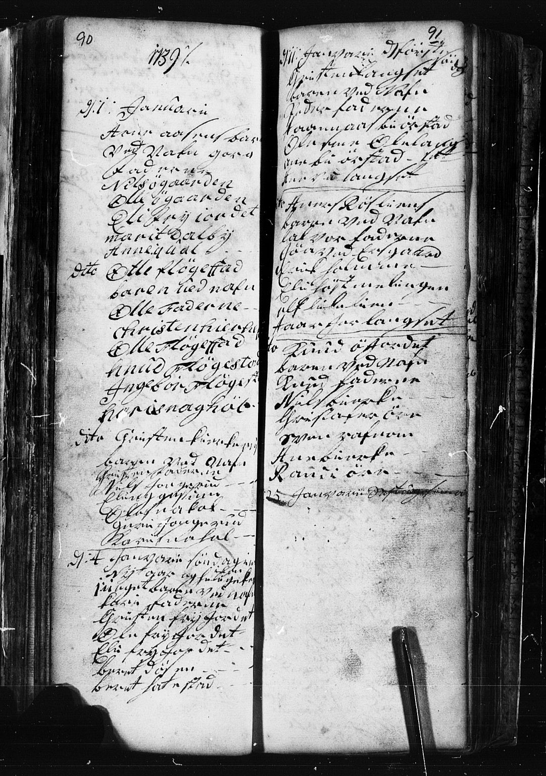 SAH, Fåberg prestekontor, Klokkerbok nr. 1, 1727-1767, s. 90-91