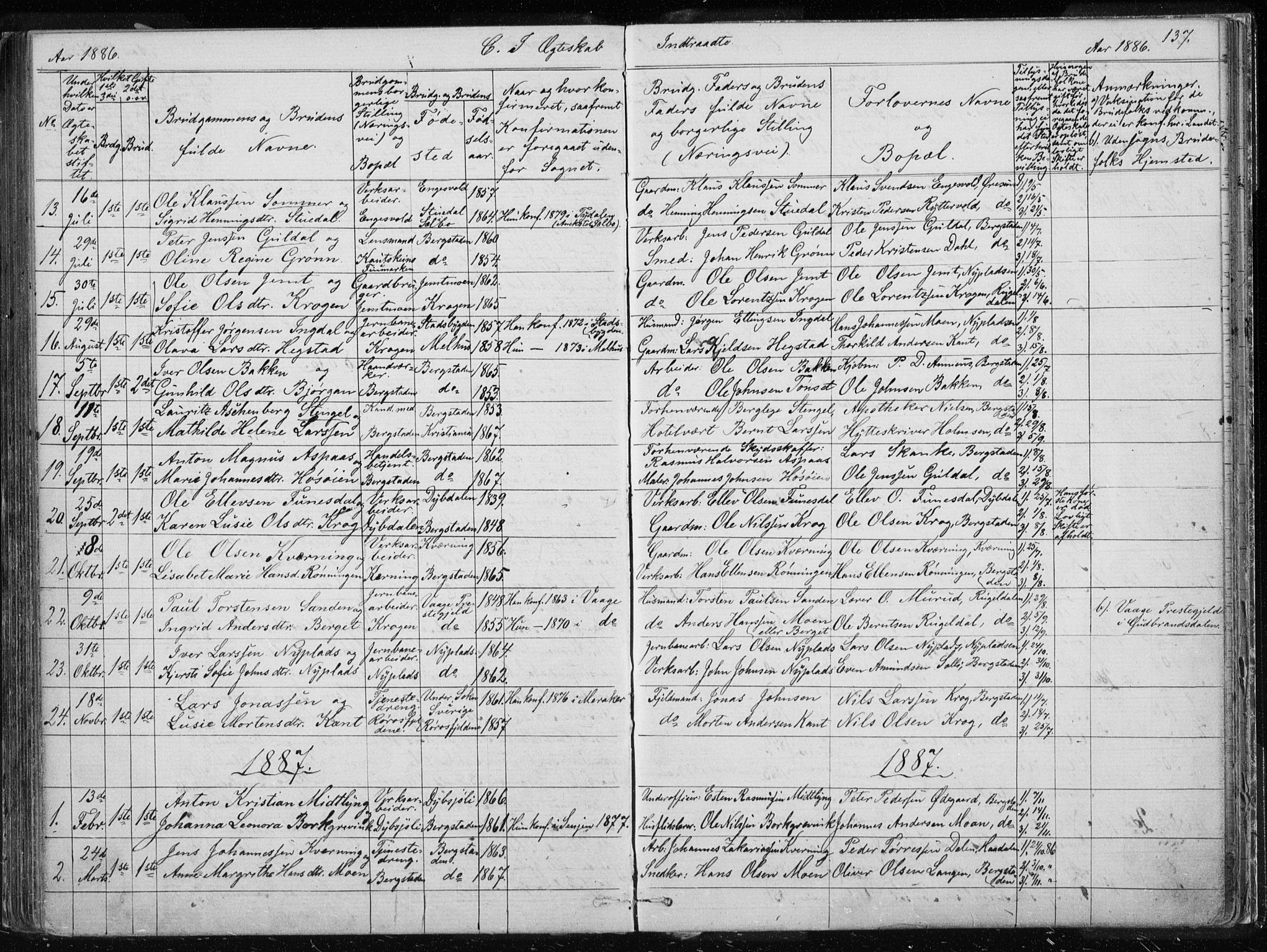 SAT, Ministerialprotokoller, klokkerbøker og fødselsregistre - Sør-Trøndelag, 681/L0940: Klokkerbok nr. 681C04, 1880-1895, s. 137