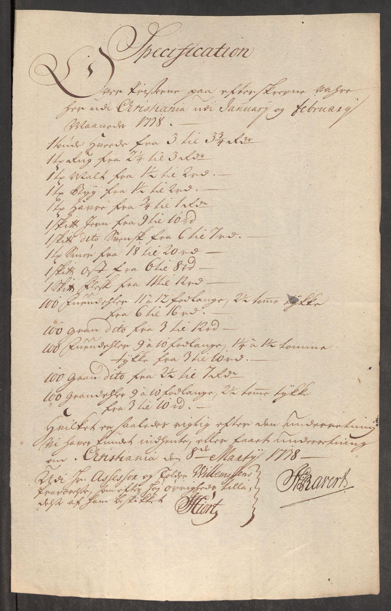 RA, Rentekammeret inntil 1814, Realistisk ordnet avdeling, Oe/L0001: [Ø1]: Priskuranter, 1712-1739, s. 713