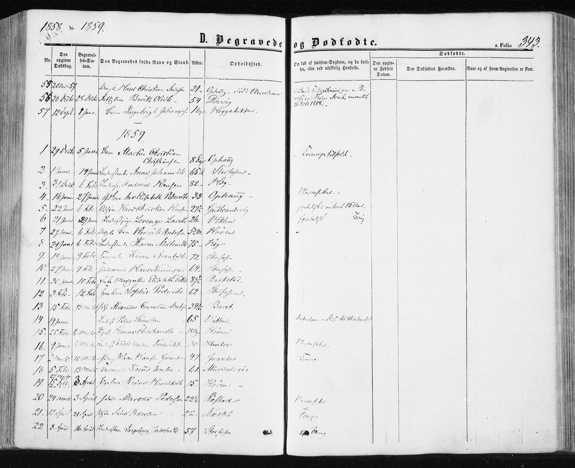 SAT, Ministerialprotokoller, klokkerbøker og fødselsregistre - Sør-Trøndelag, 659/L0737: Ministerialbok nr. 659A07, 1857-1875, s. 343