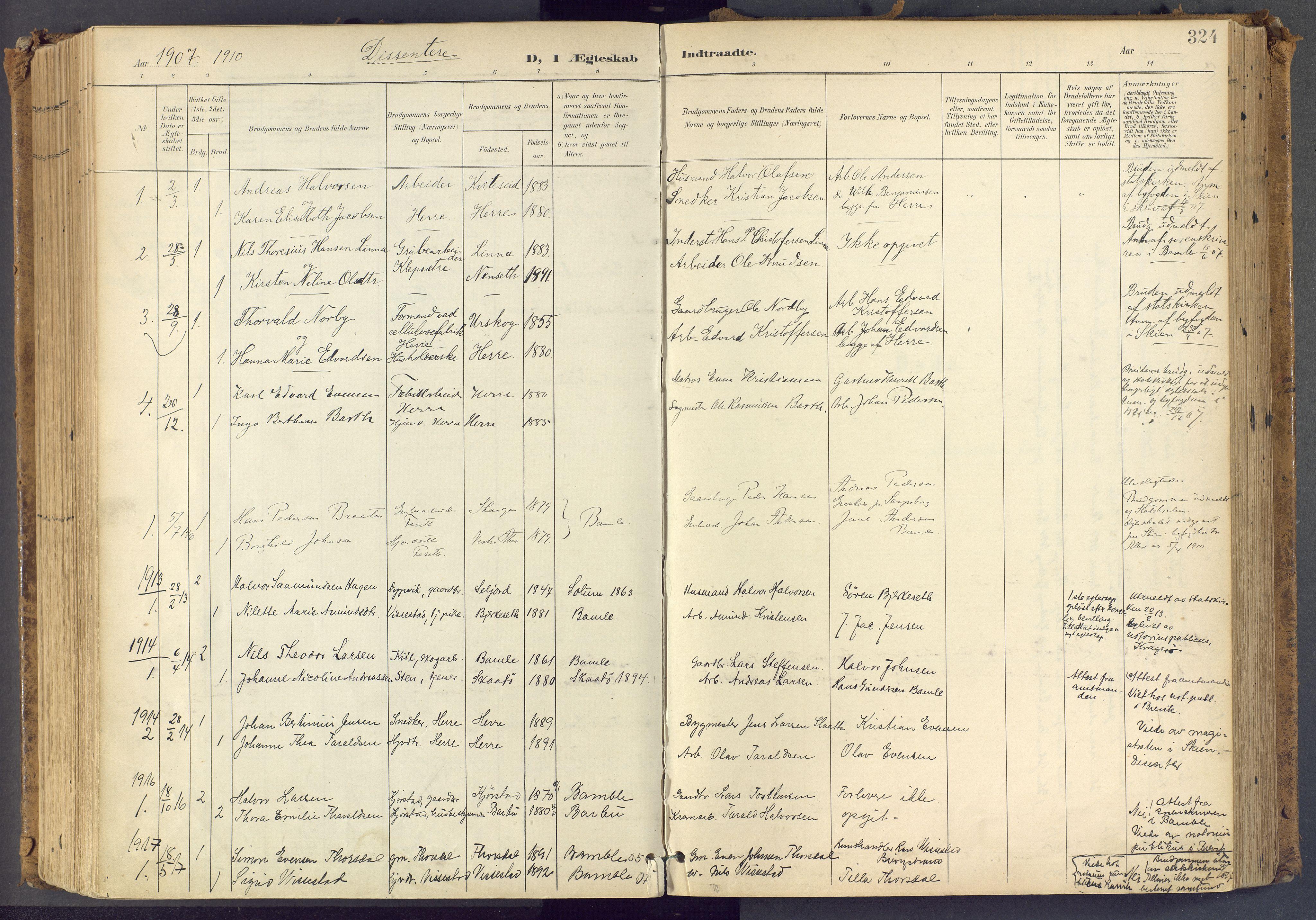 SAKO, Bamble kirkebøker, F/Fa/L0009: Ministerialbok nr. I 9, 1901-1917, s. 324