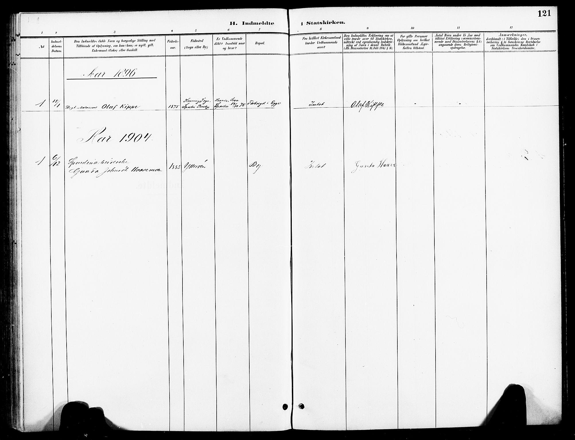 SAT, Ministerialprotokoller, klokkerbøker og fødselsregistre - Nord-Trøndelag, 740/L0379: Ministerialbok nr. 740A02, 1895-1907, s. 121
