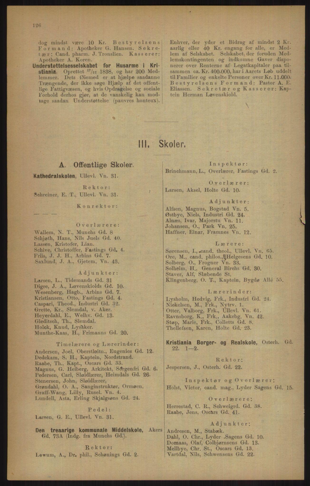 RA, Kristiania adressebok (publikasjon)*, 1905, s. 126