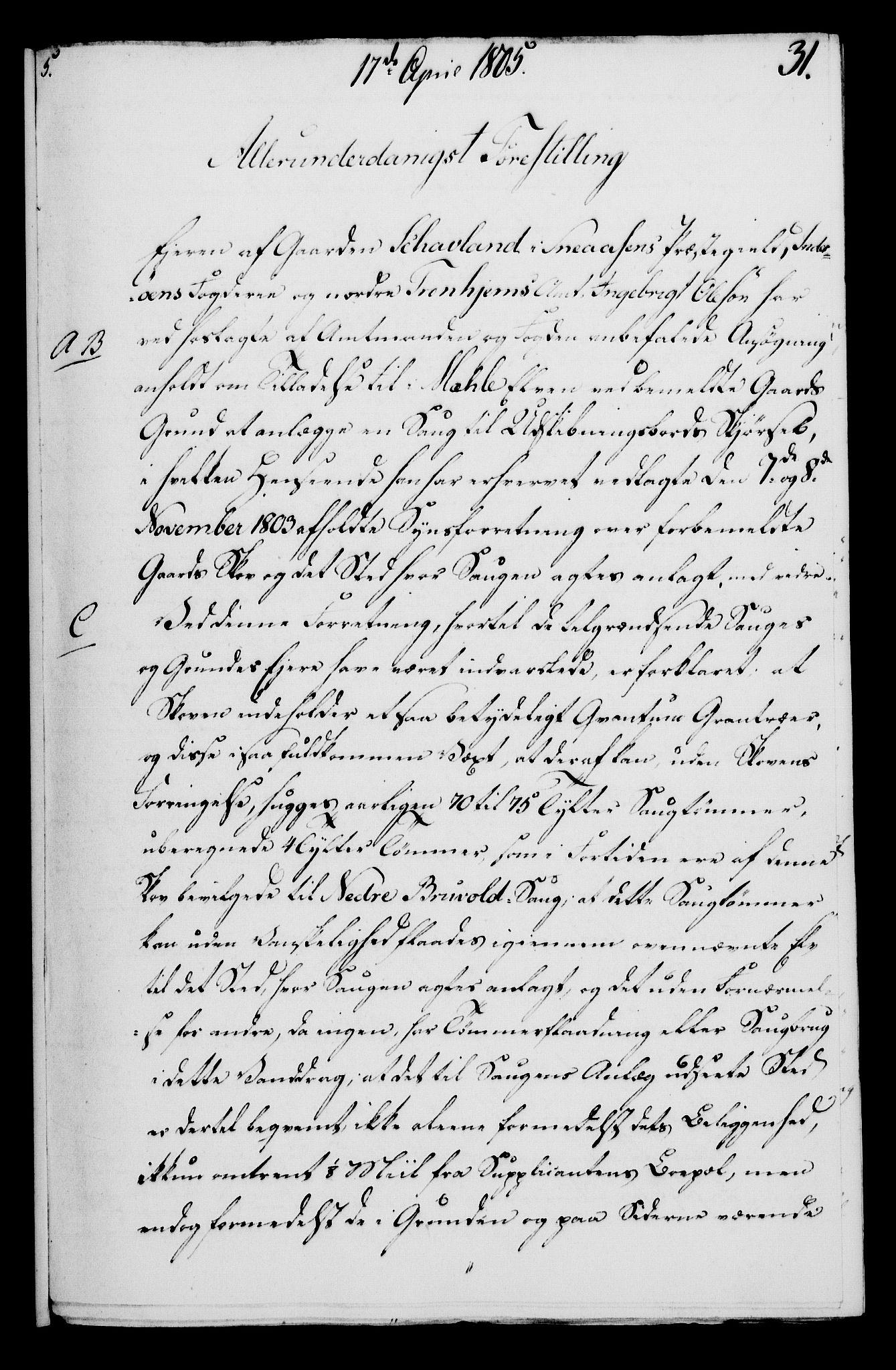 RA, Rentekammeret, Kammerkanselliet, G/Gf/Gfa/L0087: Norsk relasjons- og resolusjonsprotokoll (merket RK 52.87), 1805, s. 187