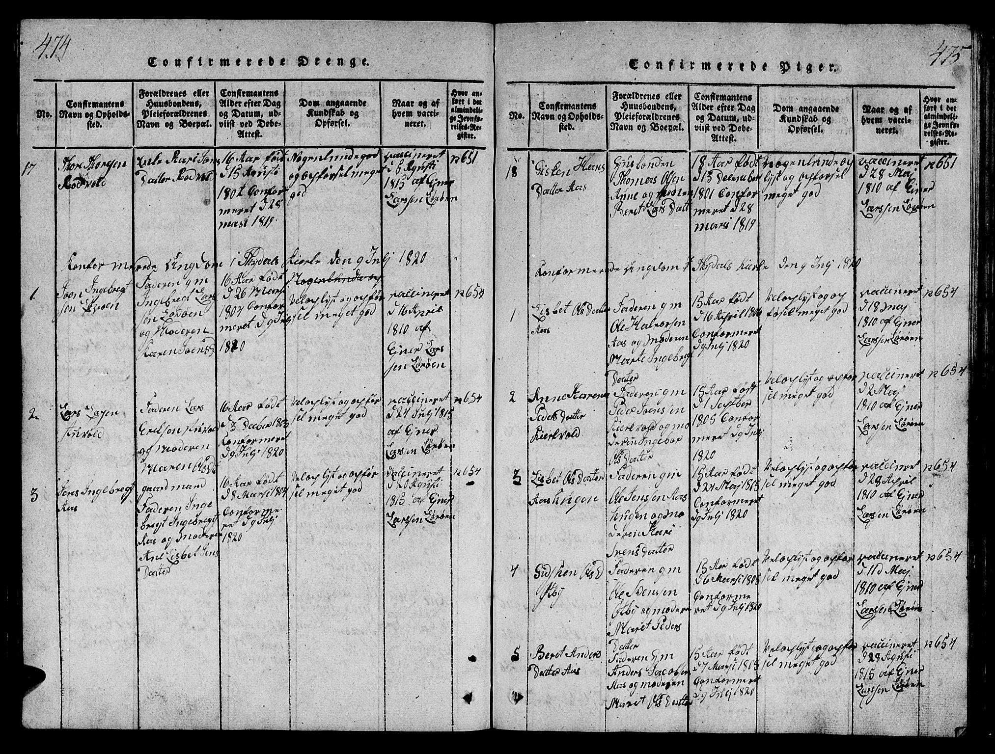 SAT, Ministerialprotokoller, klokkerbøker og fødselsregistre - Sør-Trøndelag, 698/L1164: Klokkerbok nr. 698C01, 1816-1861, s. 474-475