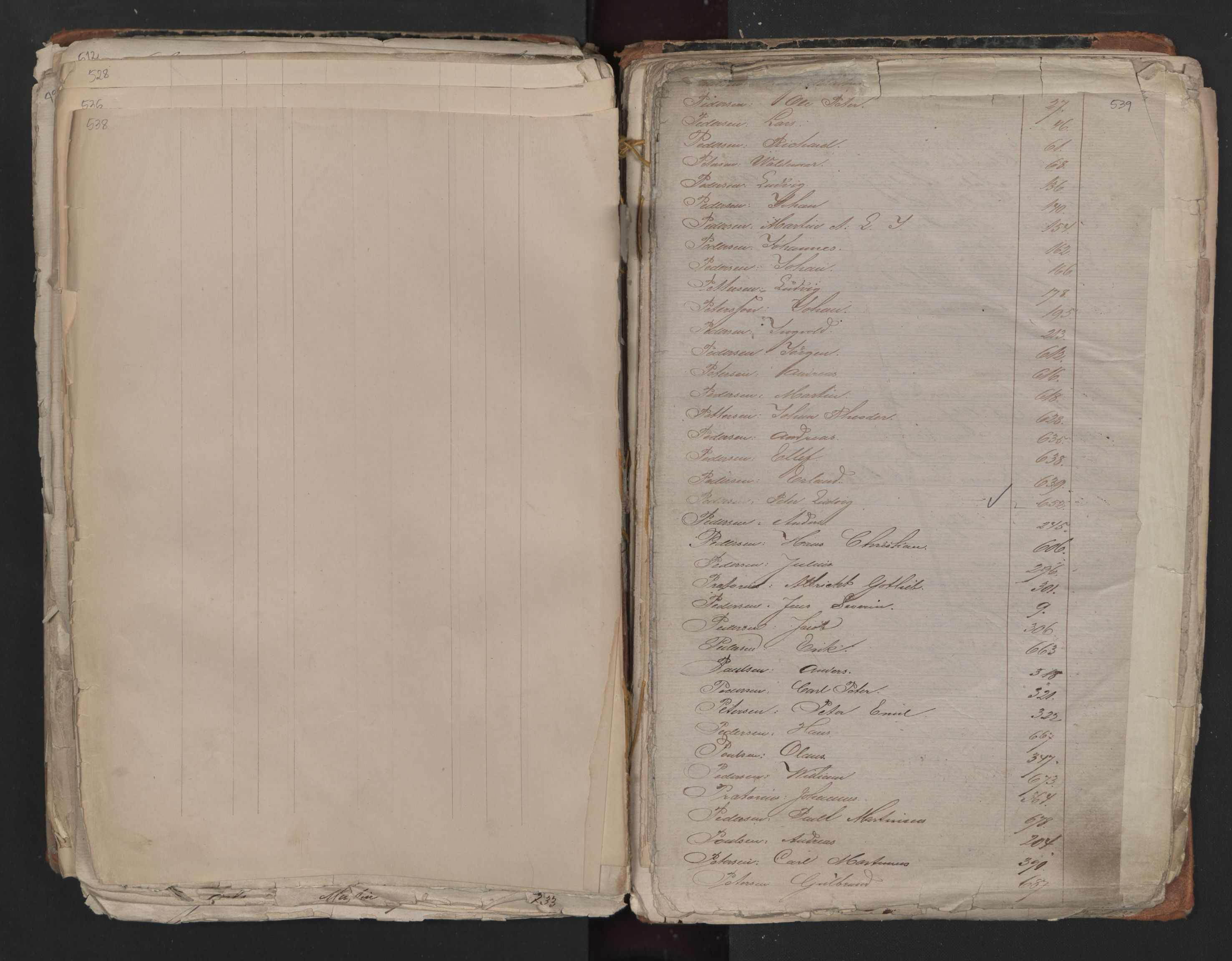 SAO, Oslo sjømannskontor, F/Fa/L0001: Register for Kristiania krets, 1866-1891, s. 538-539