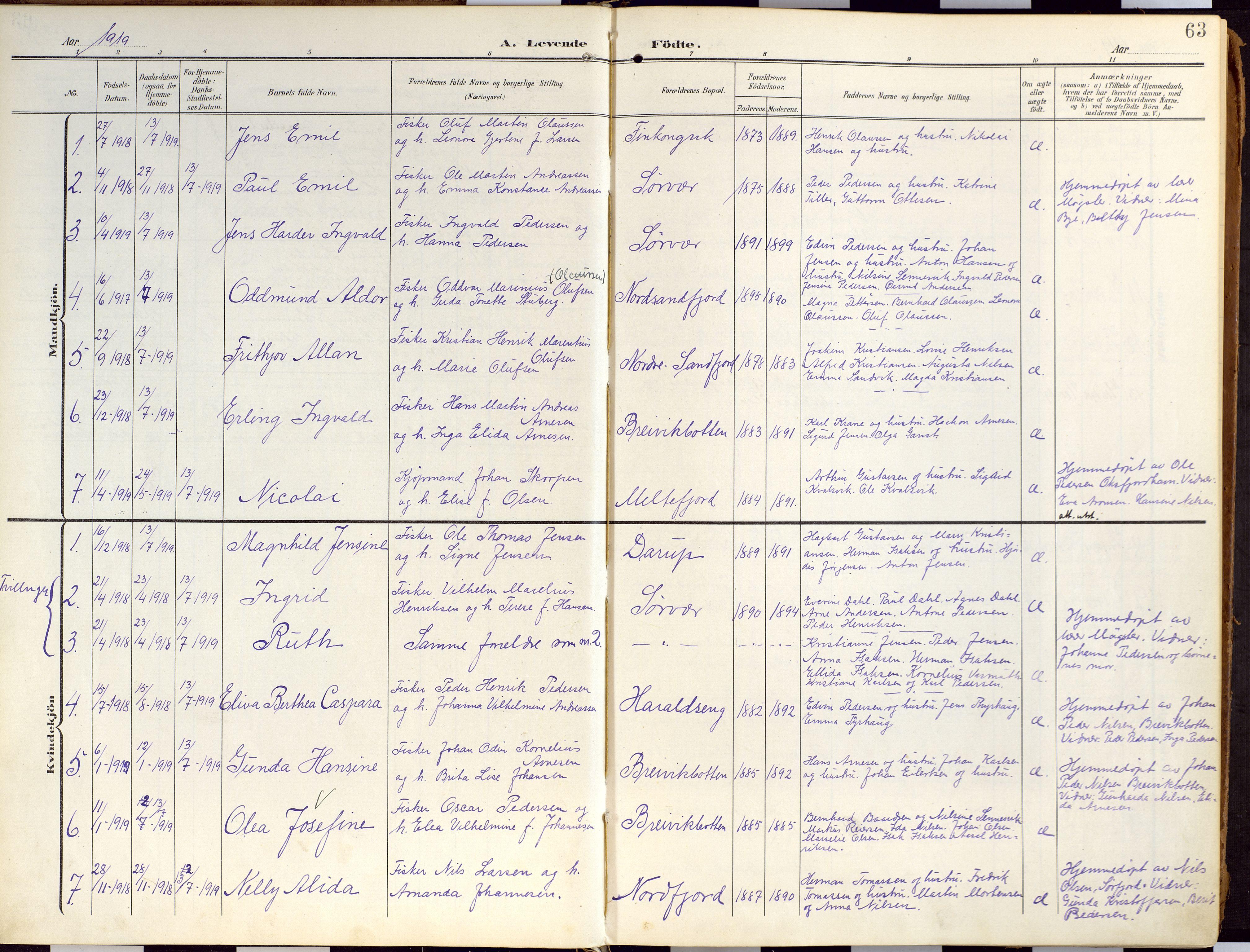 SATØ, Loppa sokneprestkontor, H/Ha/L0010kirke: Ministerialbok nr. 10, 1907-1922, s. 63