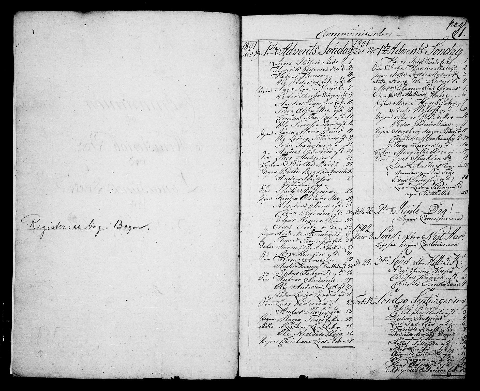 SAKO, Langesund kirkebøker, G/Ga/L0002: Klokkerbok nr. 2, 1801-1815, s. 1