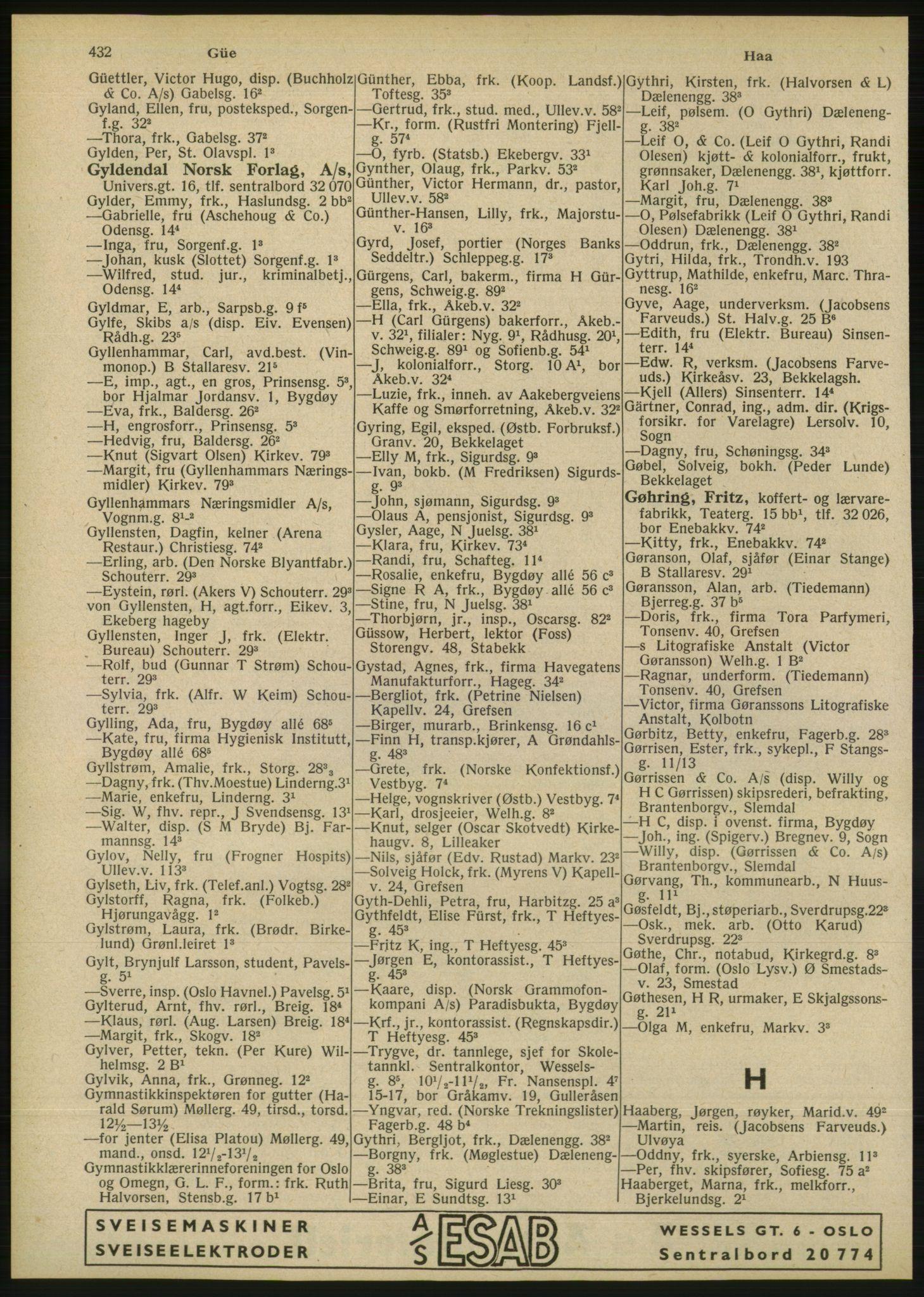 RA, Oslo adressebok (publikasjon)*, 1946, s. 432