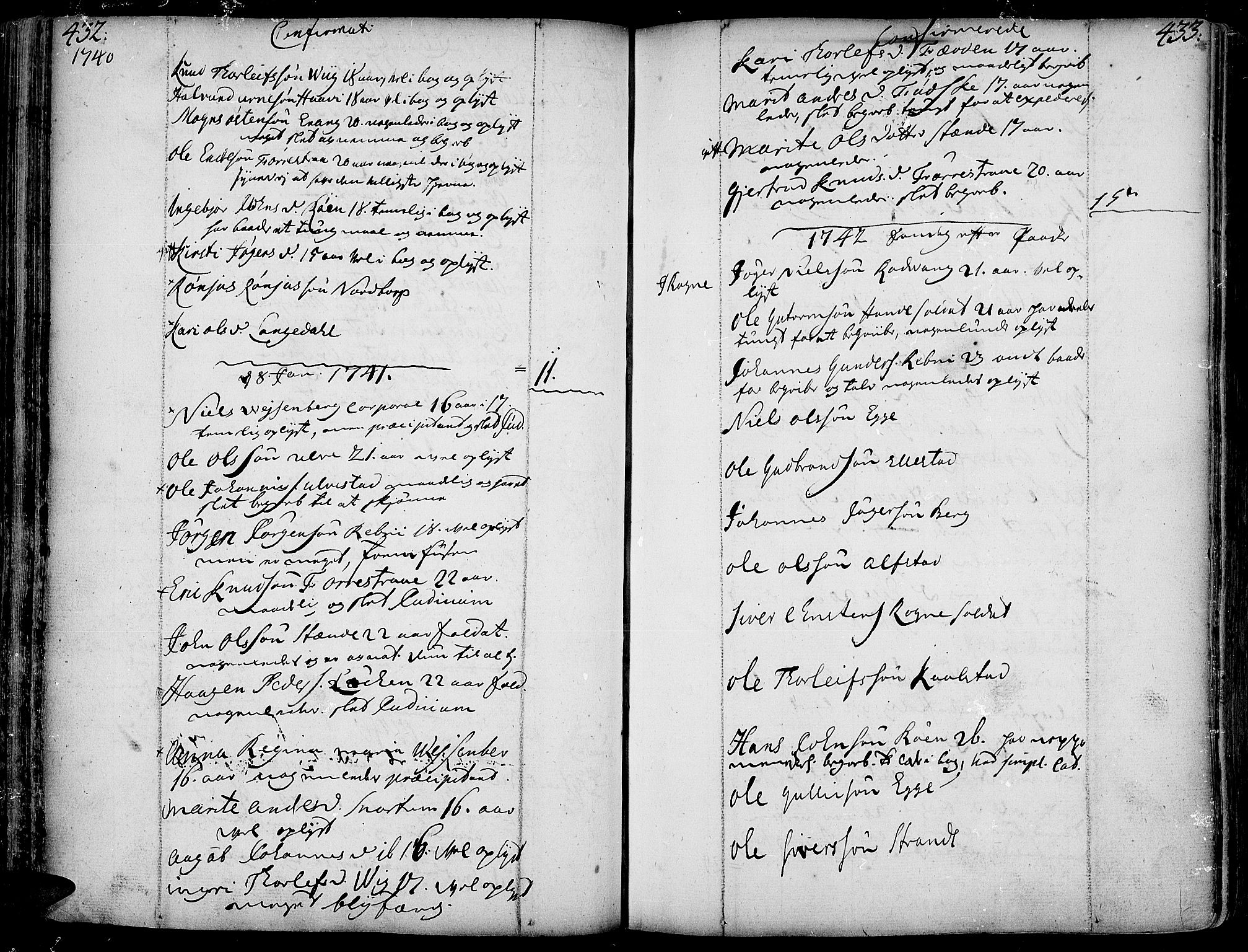 SAH, Slidre prestekontor, Ministerialbok nr. 1, 1724-1814, s. 432-433