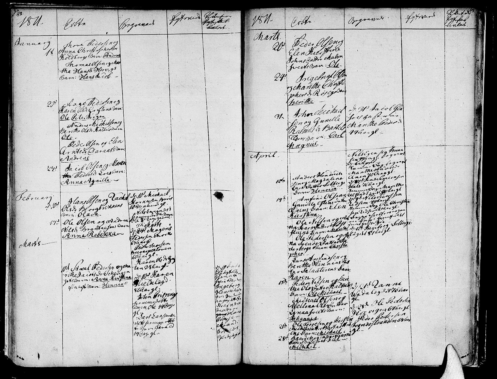 SAT, Ministerialprotokoller, klokkerbøker og fødselsregistre - Nord-Trøndelag, 741/L0386: Ministerialbok nr. 741A02, 1804-1816, s. 42-43