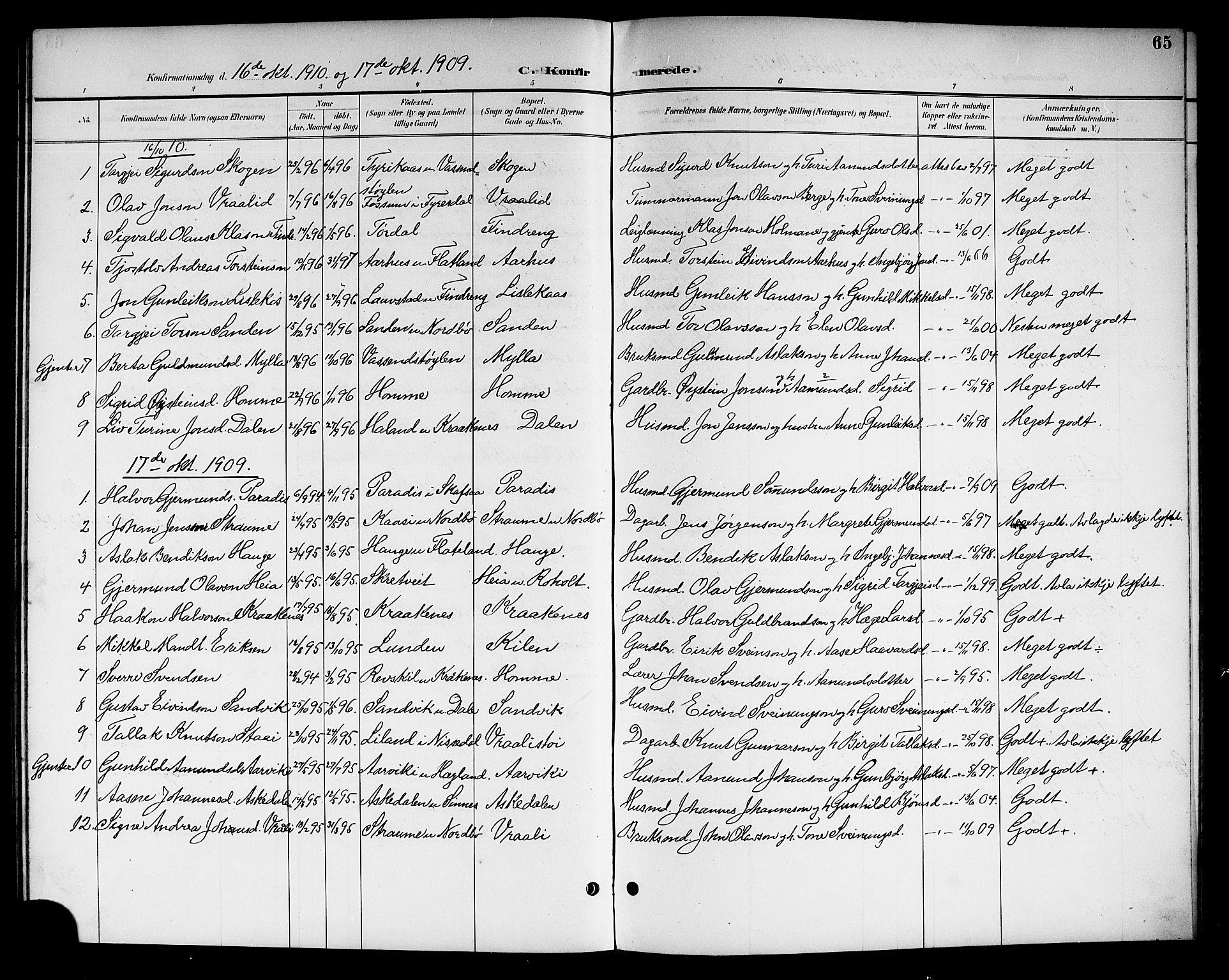 SAKO, Kviteseid kirkebøker, G/Gc/L0001: Klokkerbok nr. III 1, 1893-1916, s. 65